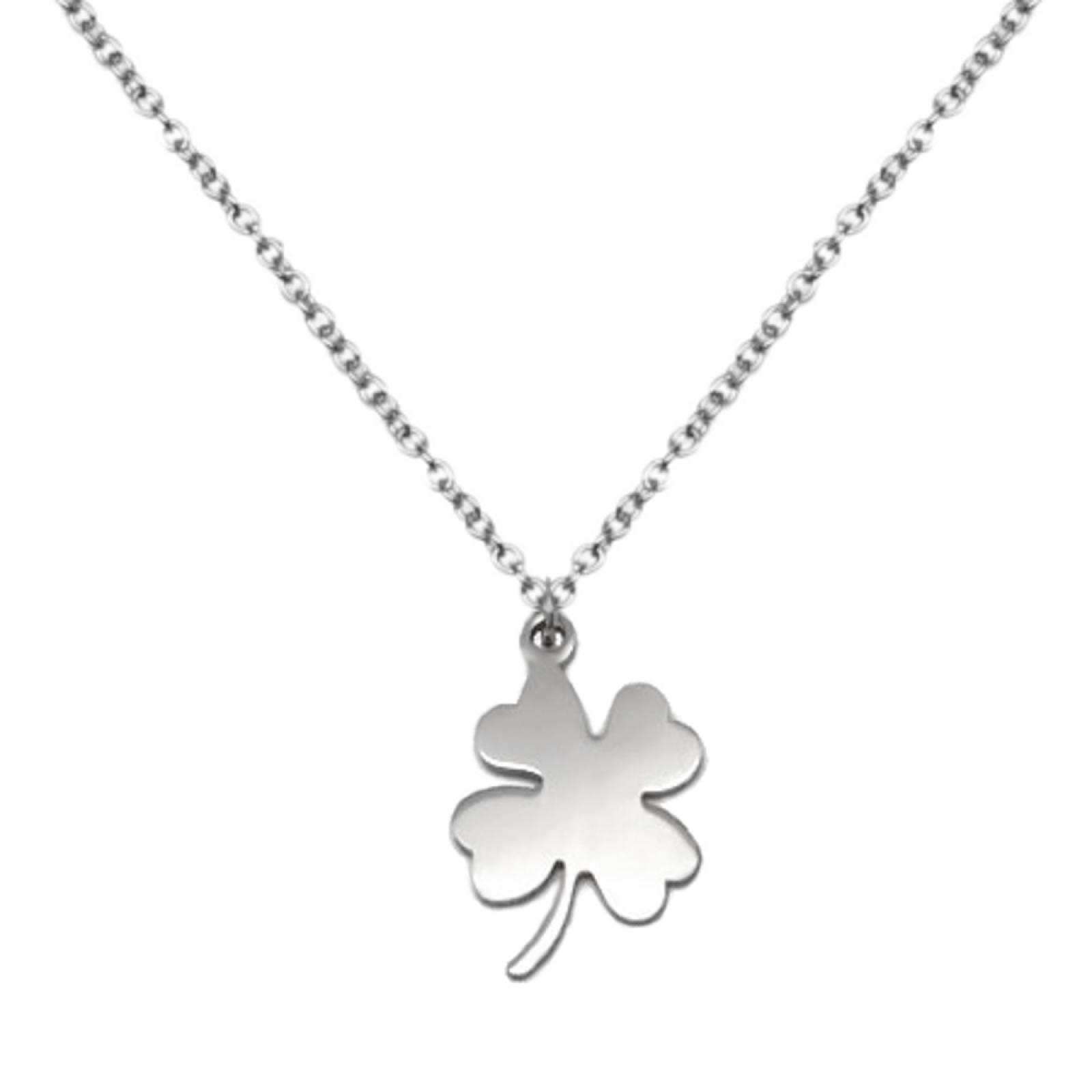 Womens Simple Silver Lucky Four Leaf Clover Stainless Steel Pendant Necklace Inside Most Recently Released Shining Leaf Pendant Necklaces (Gallery 14 of 25)