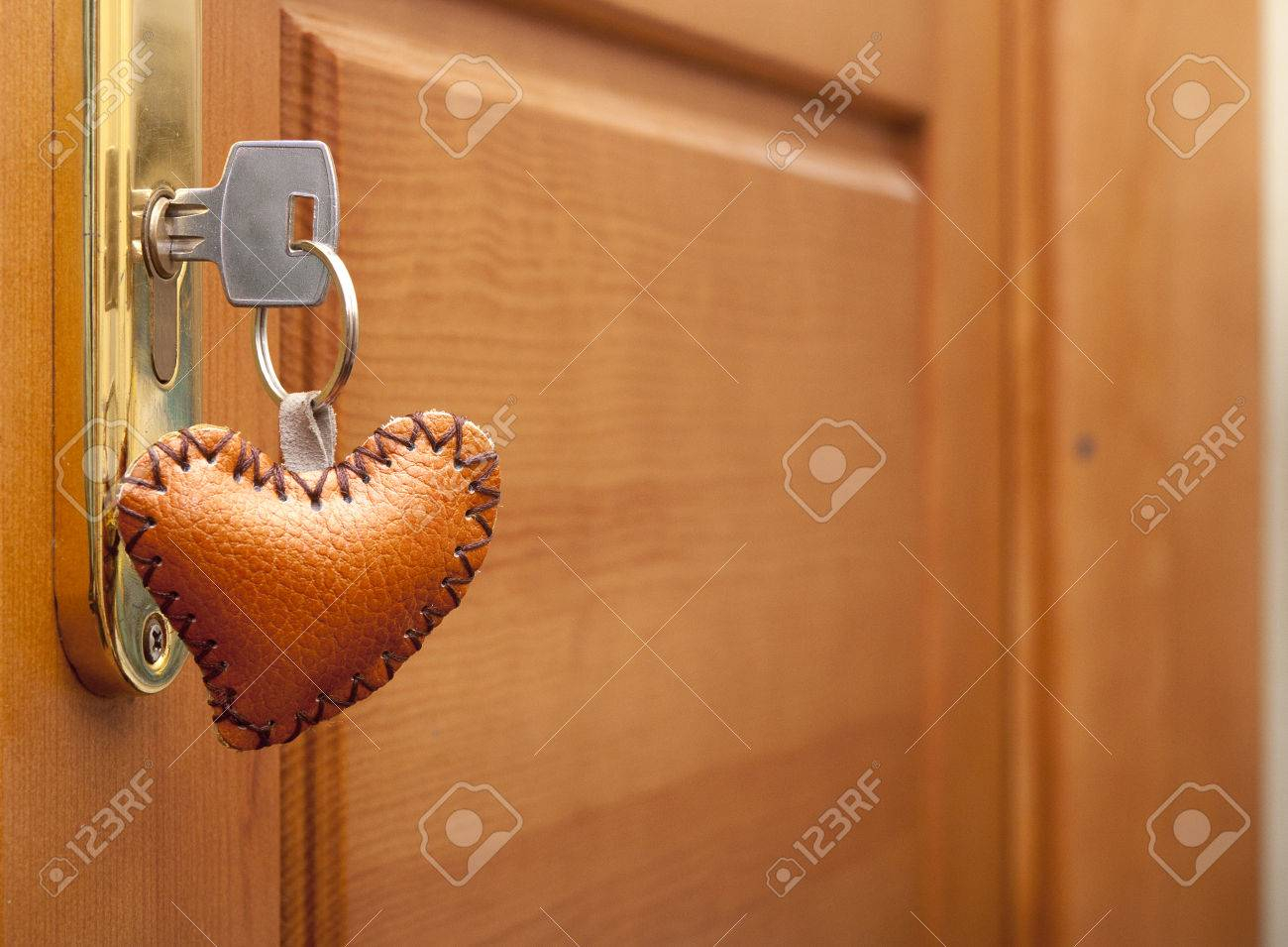 Wooden Door Lock With A Heart Shaped Key Ring With Regard To Most Current Heart Shaped Padlock Rings (View 25 of 25)