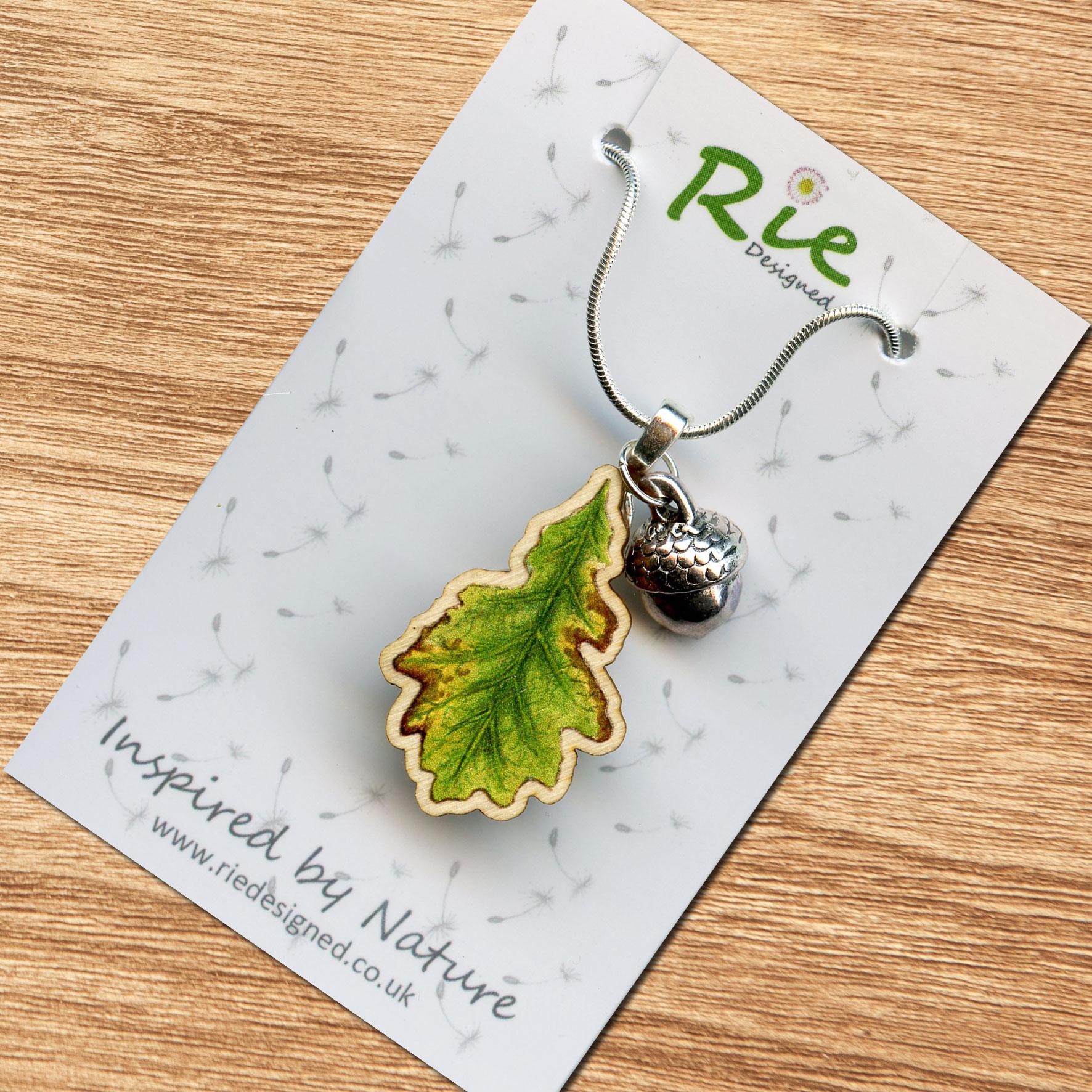 Wooden Oak Leaf & Acorn Charm Pendant Necklace Intended For Current Oak Leaf Necklaces (Gallery 12 of 25)