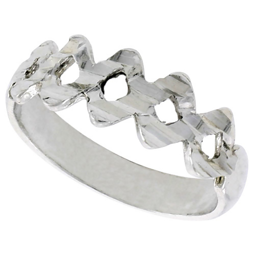 Worldjewels – Sterling Silver Small Zigzag Ring Polished Finish 1/4 In Latest Polished Zigzag Rings (View 14 of 25)