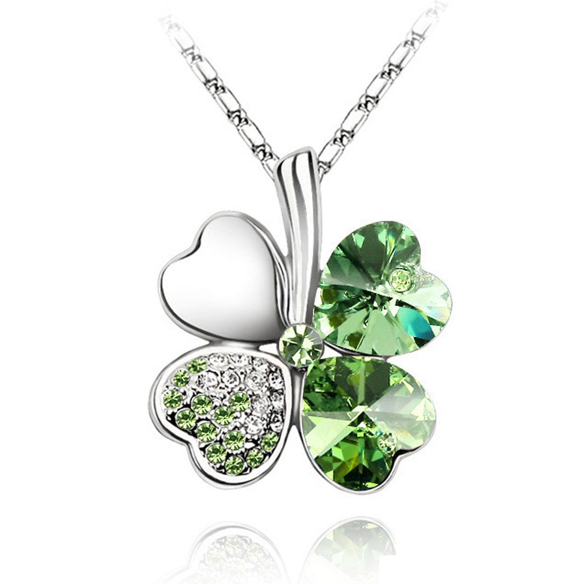 Wrapables® Gold Plated Elements Crystal Four Leaf Clover Pendant Necklace And Earrings Jewellery Set, Green Regarding Best And Newest Lucky Four Leaf Clover Locket Element Necklaces (View 21 of 25)