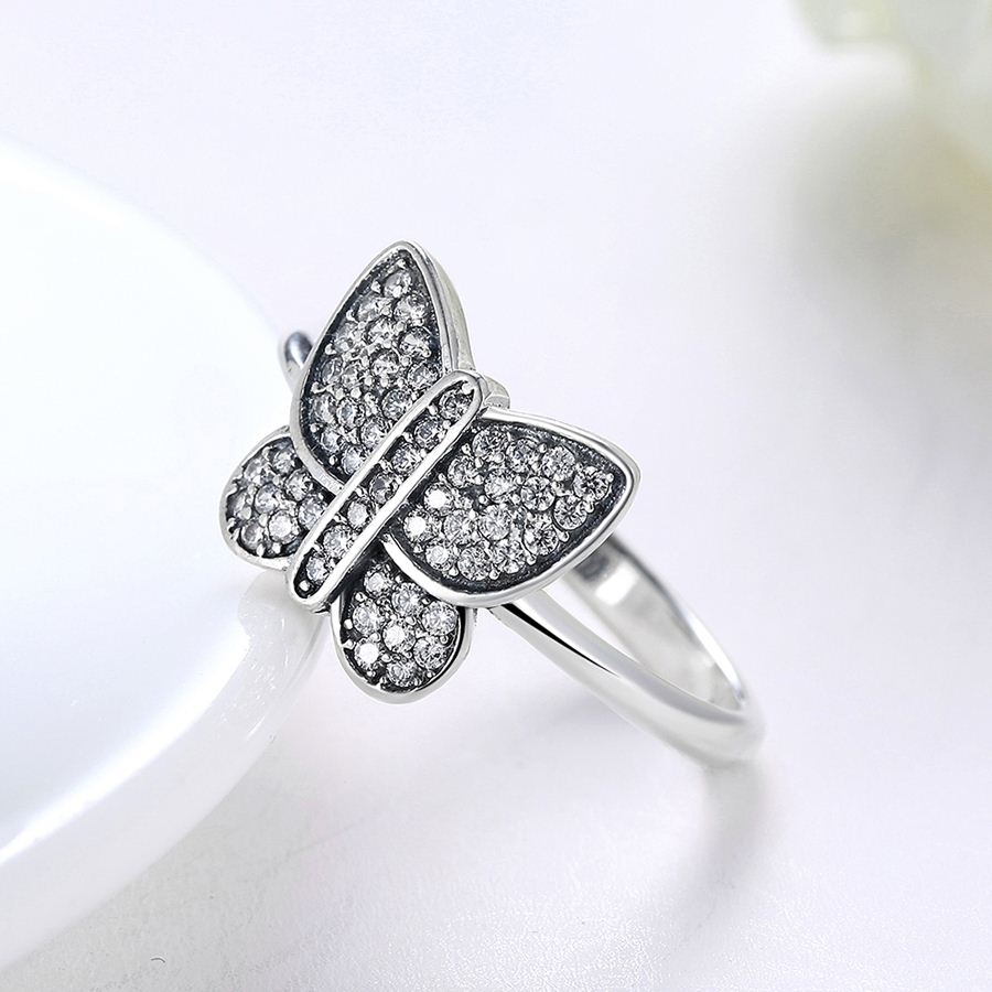 Wybeads 925 Sterling Silver Sparkling Butterfly Rings Pave Clear Cz With Regard To Most Up To Date Sparkling Butterfly Rings (View 14 of 25)