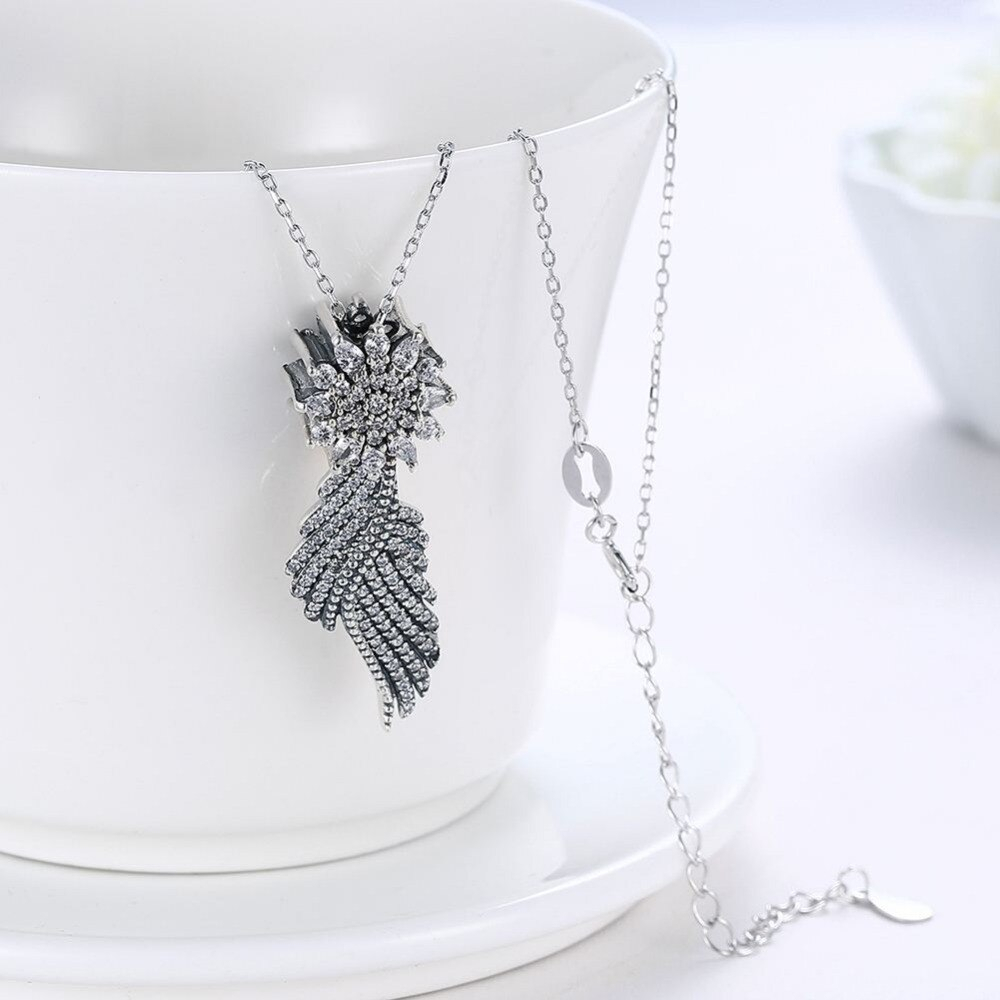 Wybeads Fine 925 Sterling Silver Shimmering Feather Style Cubic Zircon Pendants & Necklaces Fit Women Luxury Jewelry Gift N 019 In Pendant Necklaces Pertaining To Latest Shimmering Feather Pendant Necklaces (Gallery 9 of 25)