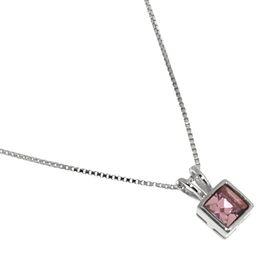 X Sterling Silver Jewellery: Delicate Necklace With Pink Sparkle Swarovski Elements 5mm Square Pendant (n29c) In Most Current Sparkling Gift Locket Element Necklaces (View 16 of 25)