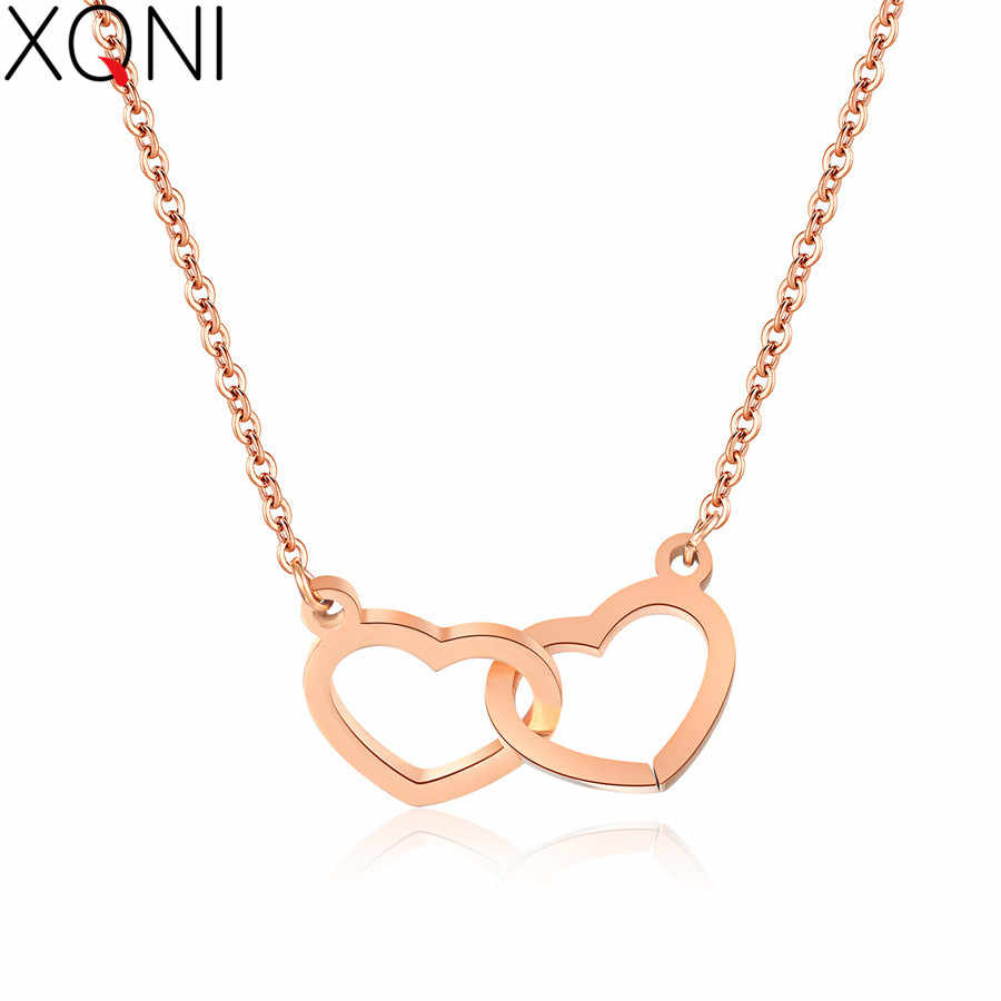 Xqni Delicate Clavicle Chain Heart Interlocking Women Necklace Anti Allergy  Choker Jewelry Bohemian Style Colares De Mulheres Inside Most Recent Interlocked Hearts Collier Necklaces (View 25 of 25)