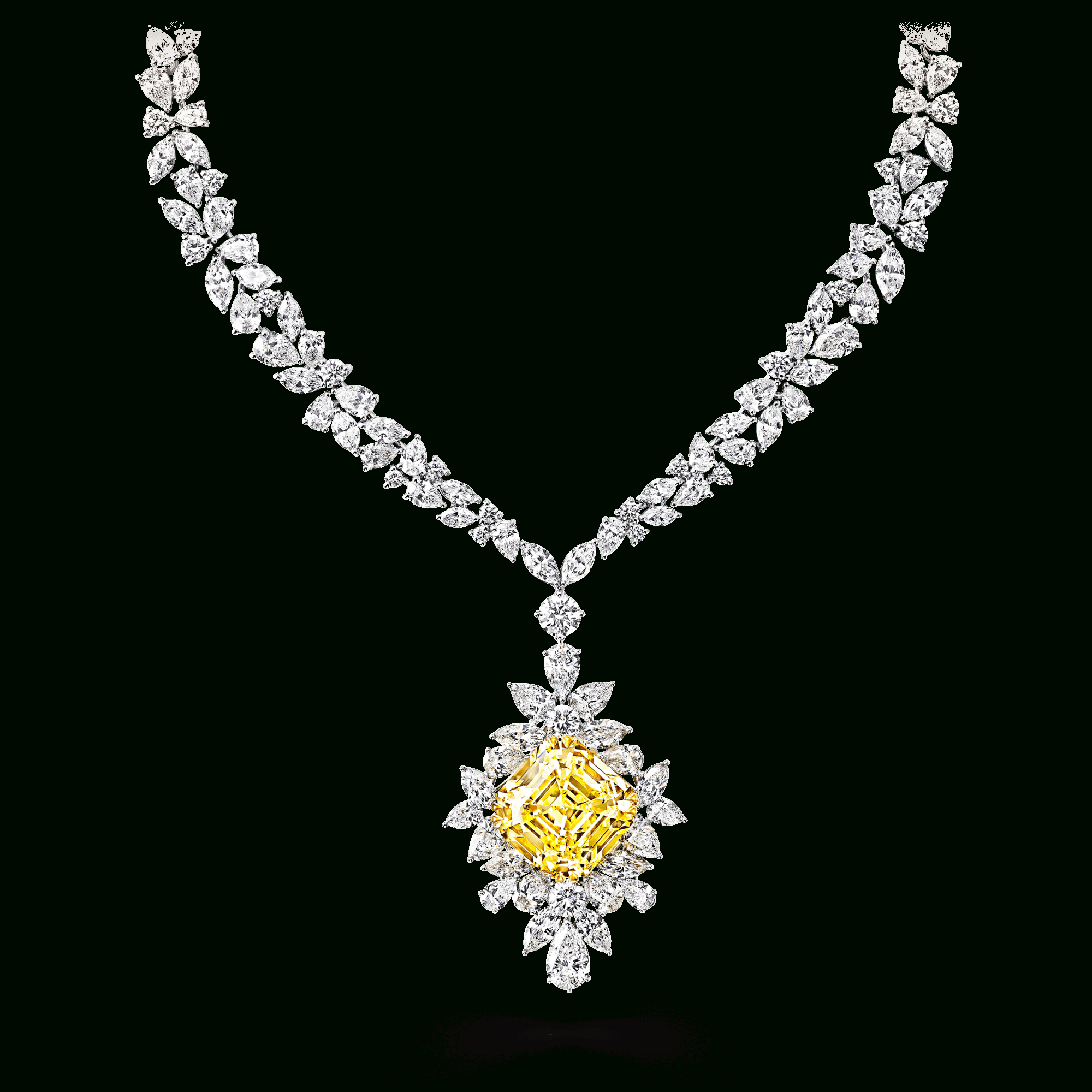 Yellow And White Diamond Necklace, Featuring A 53.94 Ct Fancy Intended For 2020 Family Script Locket Element Necklaces (Gallery 13 of 25)