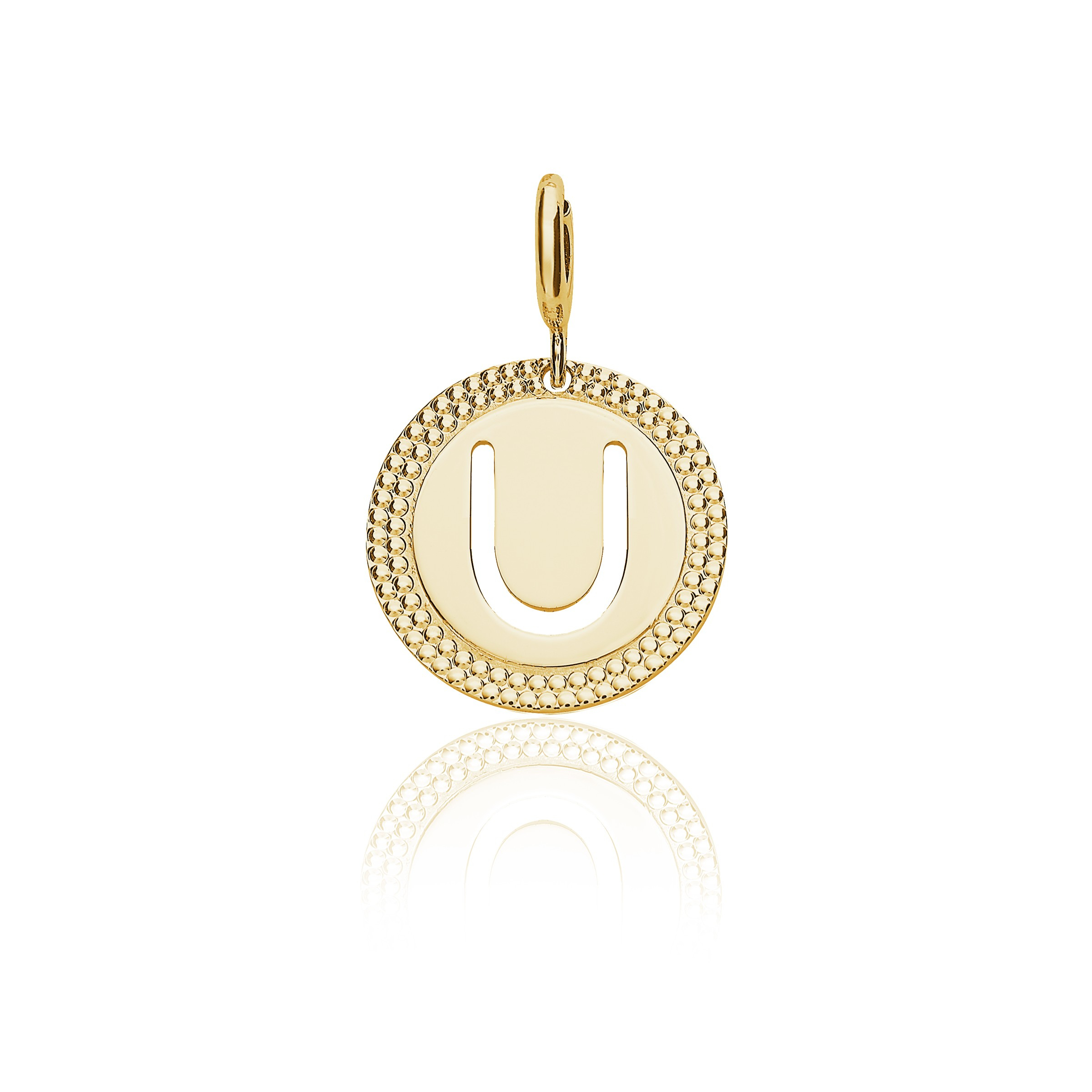 "Yellow Gold Alphabet Pendant Letter ""u"" With Newest Letter U Alphabet Locket Element Necklaces (View 1 of 25)"