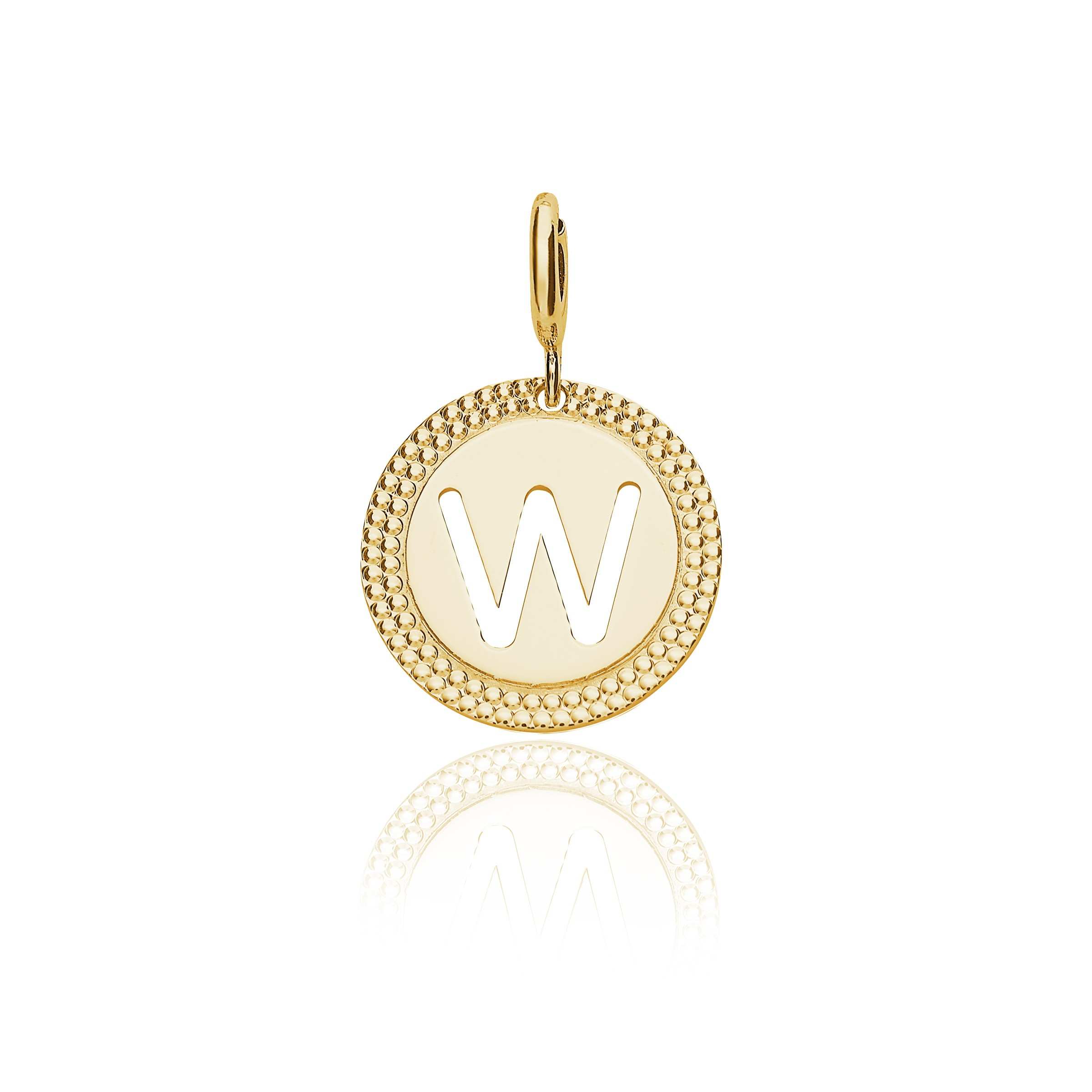 "Yellow Gold Alphabet Pendant Letter ""w"" For Most Popular Letter X Alphabet Locket Element Necklaces (View 25 of 25)"