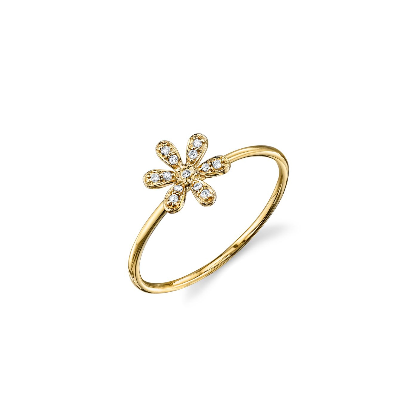 Yellow Gold & Pavé Diamond Flower Ring Within Most Popular Pavé Flower Rings (Gallery 3 of 25)