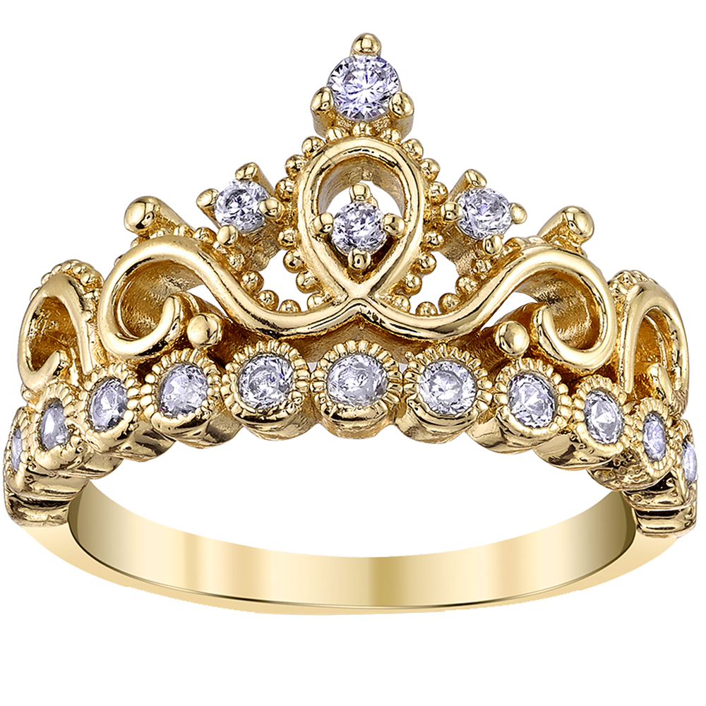 Yellow Gold Plated 925 Sterling Silver Crown Ring | Crown Rings Inside Recent Princess Tiara Crown Rings (Gallery 11 of 25)