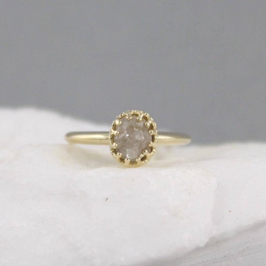 Yellow Gold Raw Diamond Ring – Vintage Style Setting – 14k With Regard To Recent Diamond Vintage Style Anniversary Bands In Gold (View 11 of 25)