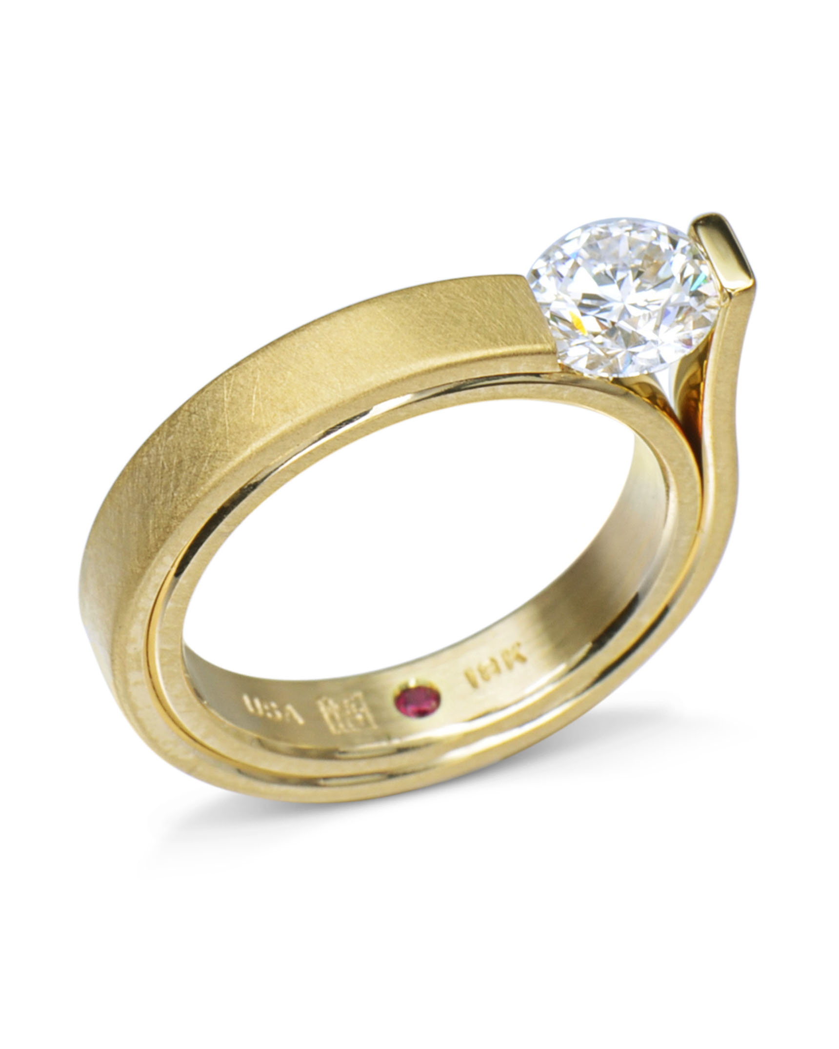 Yellow Gold Slant Set Diamond Engagement Ring For Latest Diamond Slant Anniversary Bands In White Gold (Gallery 18 of 25)