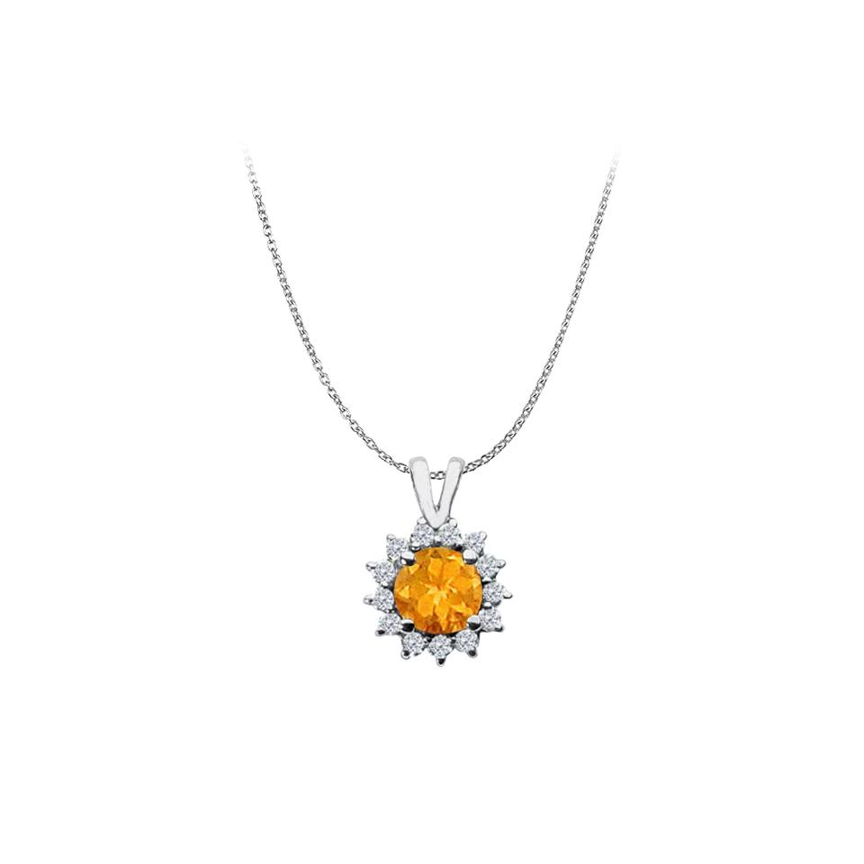 Yellow Round Citrine And Cz Halo Pendant 925 Sterling Silver Necklace 71%  Off Retail Regarding Recent Round Sparkle Halo Necklaces (View 25 of 25)