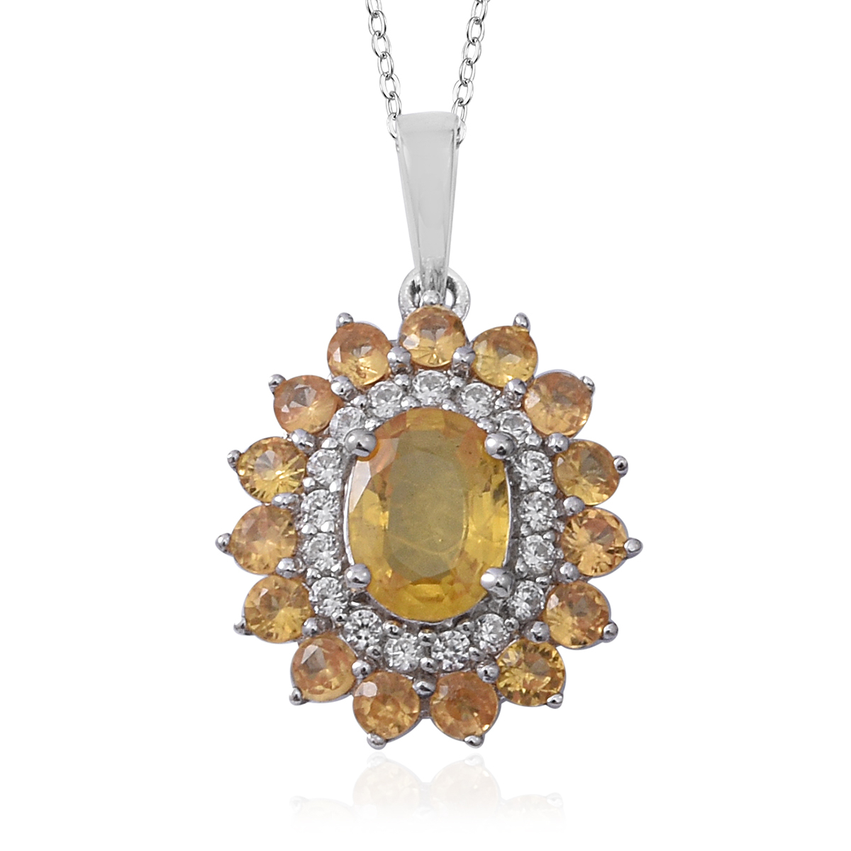 Yellow Sapphire, Cambodian White Zircon Floral Halo Pendant Necklace (18  In) In Platinum Over Sterling Silver 3.14 Ctw In Most Popular Round Sparkle Halo Pendant Necklaces (Gallery 15 of 25)