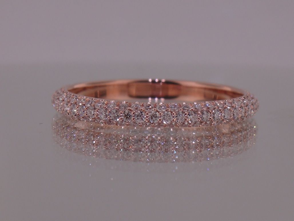 Yes!!! 3 Row Micro Pave Band!! Josh Levkoff – Collection Throughout Newest Diamond Three Row Anniversary Bands In Rose Gold (View 25 of 25)