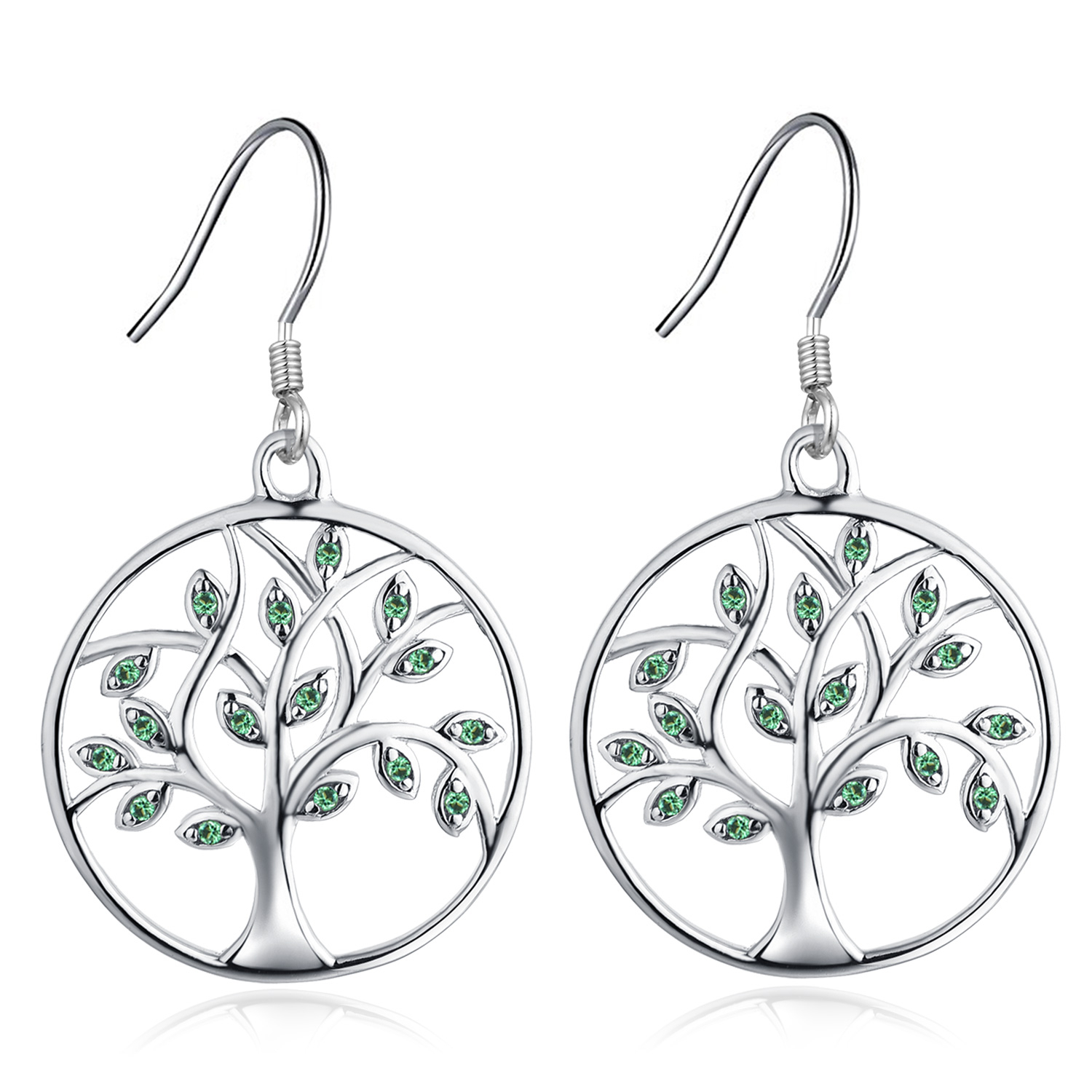 Yl Tree Of Life Dangle Earrings Sterling Silver Circle Drop Earring Created  Emerald Green Jewelry Regarding Best And Newest Dangling Family Tree Rings (View 25 of 25)