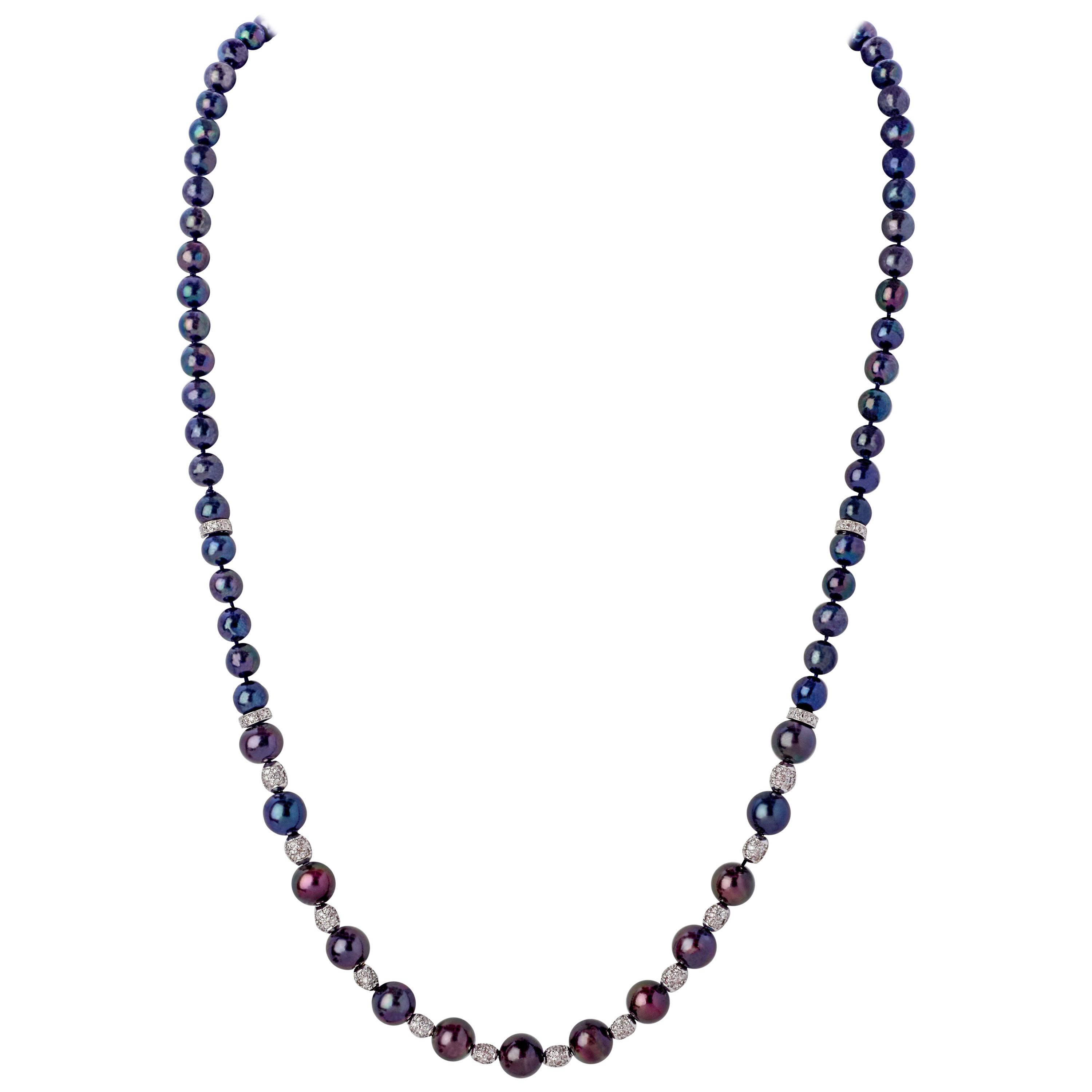 Yoko London Akoya Pearl, Freshwater Pearl & Purple Sapphire Necklace In 18K Gold Pertaining To Newest Offset Freshwater Cultured Pearl Circle Necklaces (View 20 of 25)