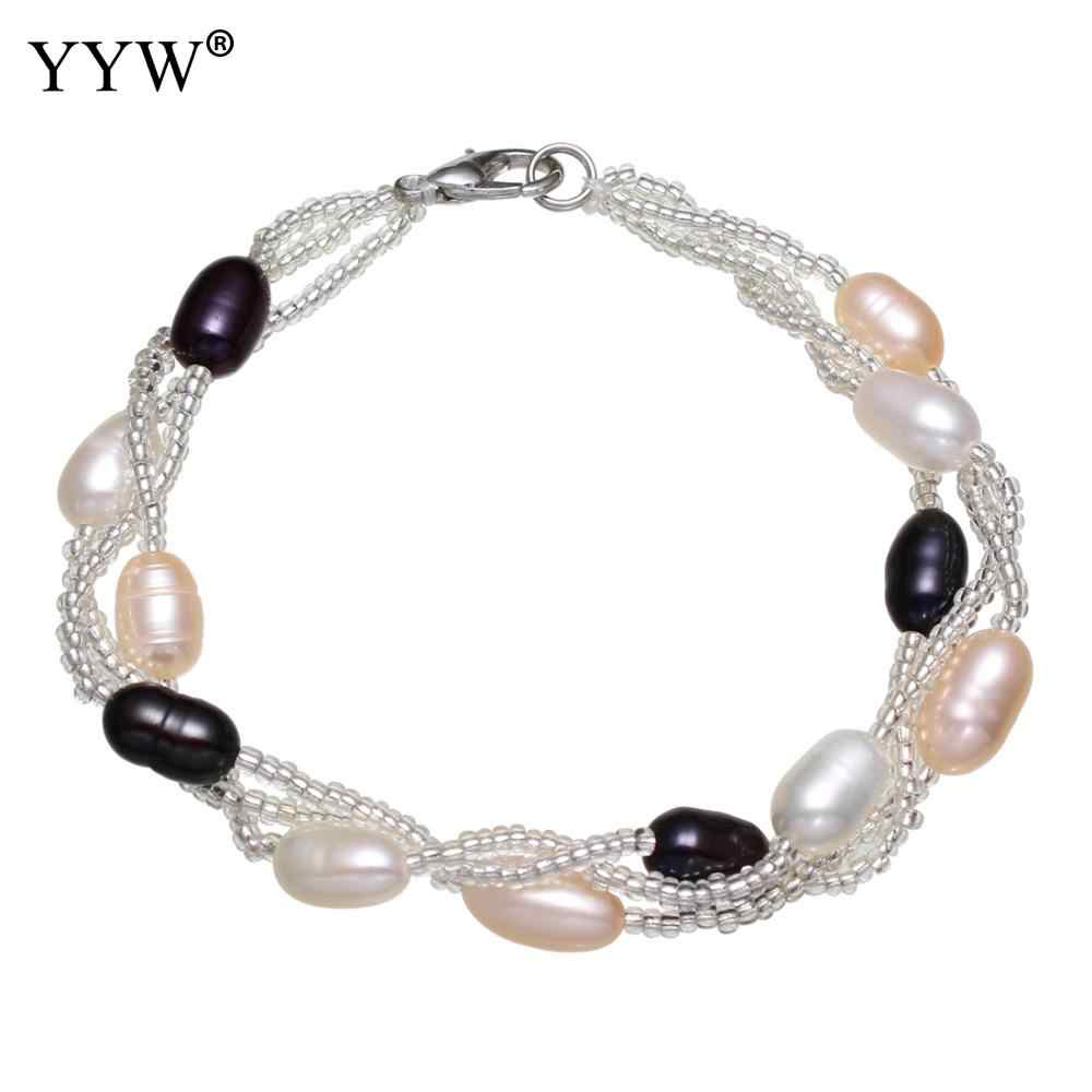 "Yyw 7.5"" 19Cm Length 5 6Mm Rice Drop Beads Glass Seed Beads Lobster Clasp  Natural Freshwater Cultured Pearl Bracelets For Woman With Regard To Recent Bead & Freshwater Cultured Pearl Open Rings (Gallery 14 of 25)"