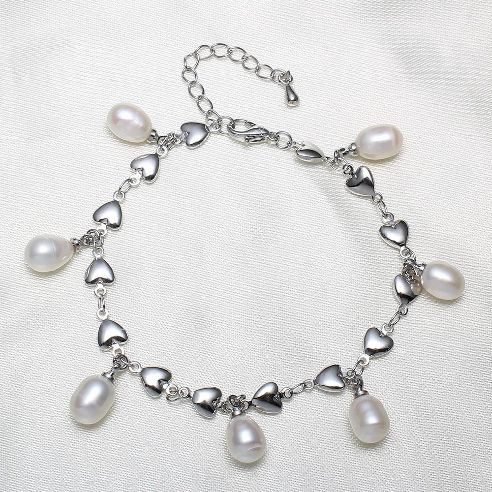 Yyw Wedding Bridal Freshwater Cultured Pearl Bracelet Jewelry Heart Chain  Natural Real Drop Charm Pearl Dangle Bangles Bracelets Throughout Most Recent Dangling Freshwater Cultured Pearl Rings (View 25 of 25)