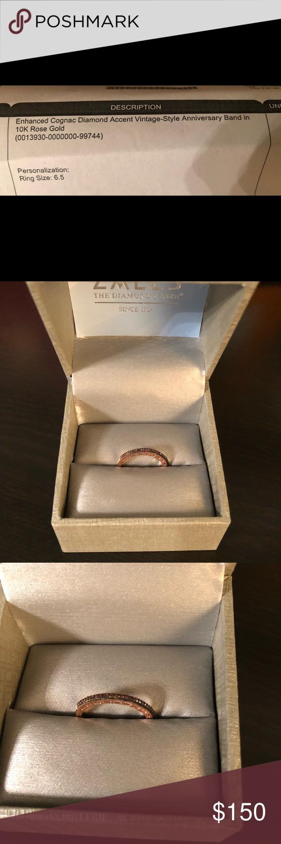 Zales Enhanced Cognac Diamond 10k Rose Gold Ring Hi! I Have Regarding Current Enhanced Cognac Diamond Vintage Style Anniversary Bands In Rose Gold (View 11 of 25)