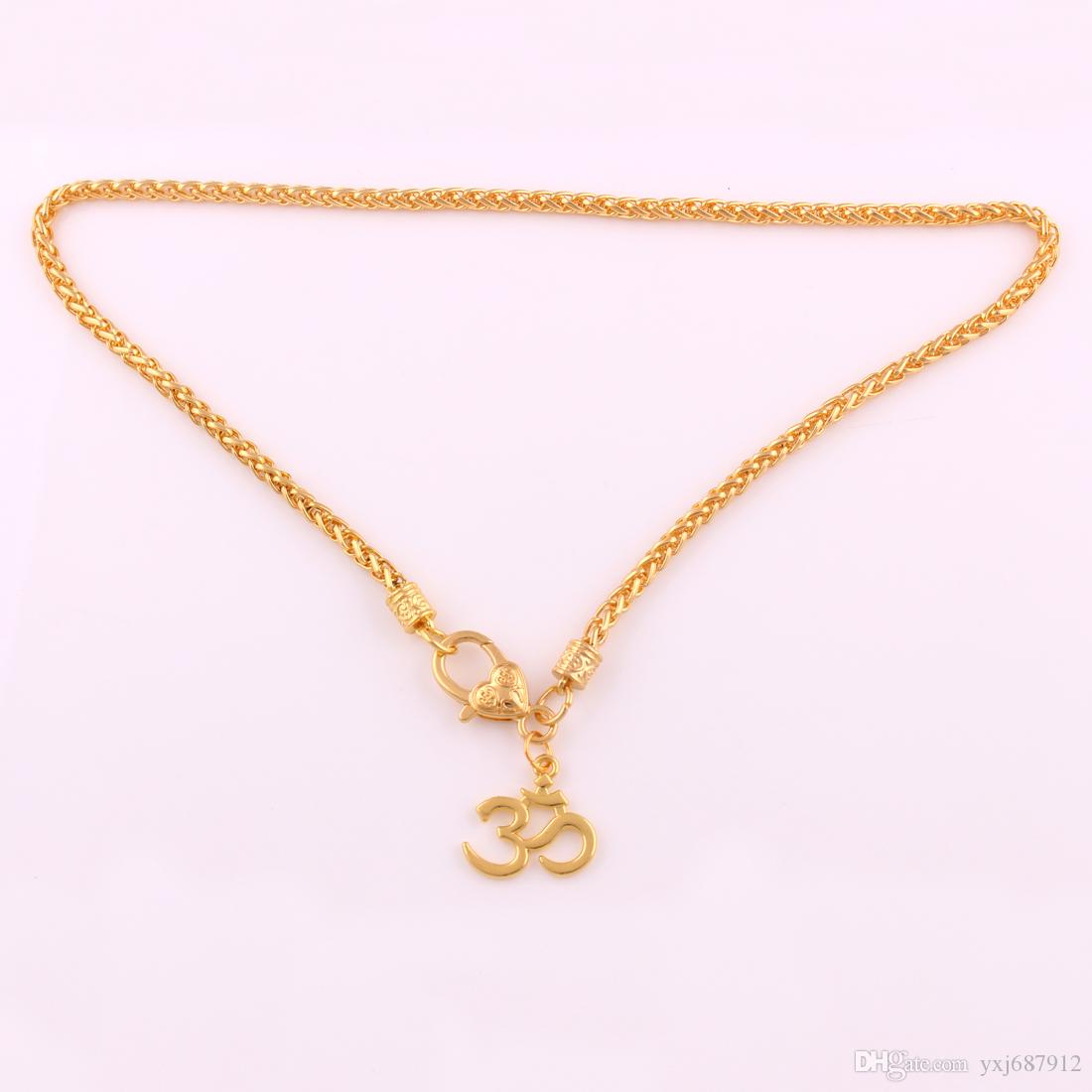Zh6 Gold Fashion Om Aum Pendant Necklaces Fashion Rhodium Yoga Meditation Ohm Asana With Wheat Snake Chain Necklace Jewelry Pertaining To Most Recent Wheat Pendant Necklaces (View 5 of 25)