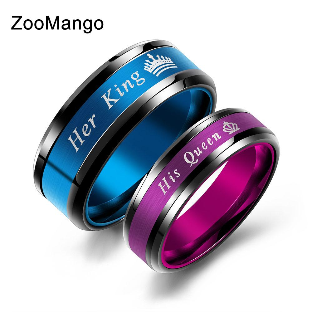 Zoomango Blue/pink Polished Stainless Steel Couple Wedding Ring Jewelry  Fashion Her King & His Queen Crown Lovers Ring Zogj649 With Regard To Most Current Polished Crown Rings (View 25 of 25)