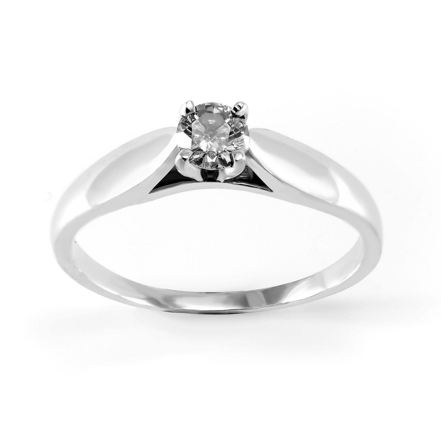 0.15 Ct – Round Brilliant Diamond Solitaire Ring In Sterling Silver Intended For Brilliant Love Diamond Engagement Rings (Gallery 15 of 25)