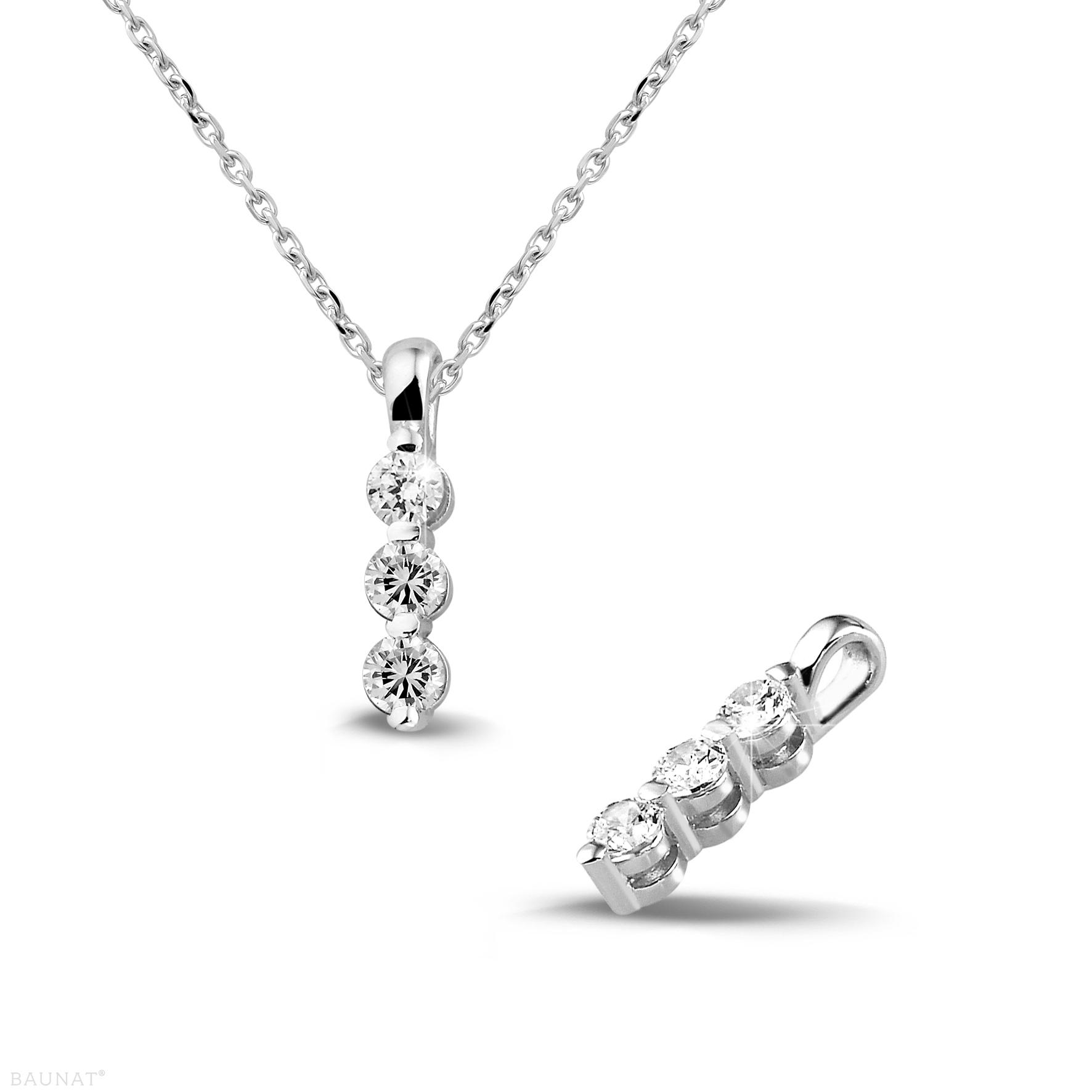 0.30 Carat Trilogy Diamond Pendant In Platinum Pertaining To Current Diamond Necklaces In Platinum (Gallery 9 of 25)