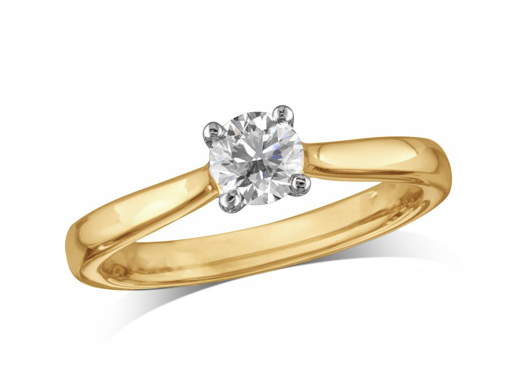 0.45Ct | Brilliant | E | Single Stone Diamond Ring | Grosvenor Northampton With 2017 Princess Cut Single Diamond Wedding Bands In Yellow Gold (Gallery 19 of 25)