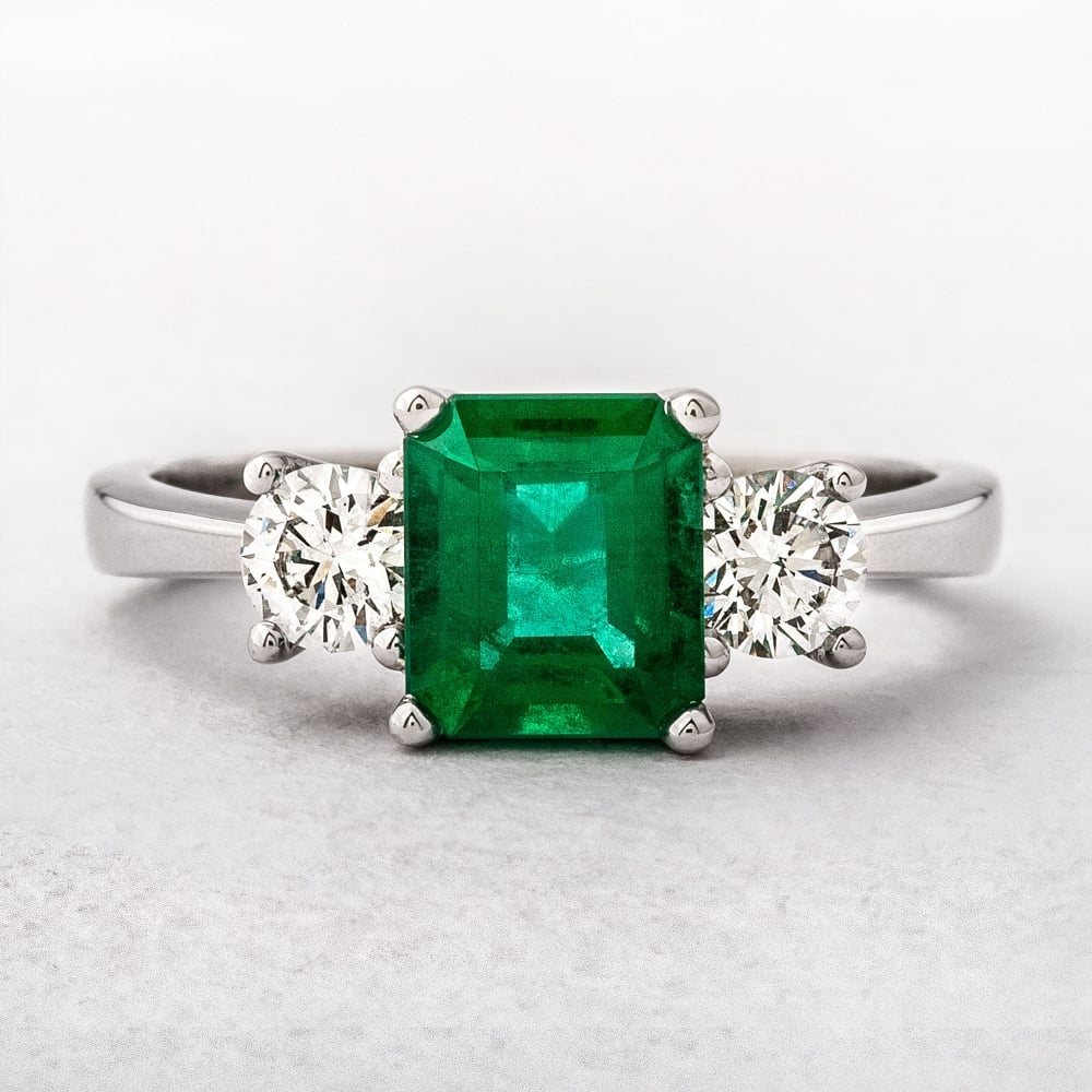 0.48Ct Emerald & Diamond Three Stone Ring Inside Emerald And Diamond Three Stone Rings (Gallery 2 of 25)