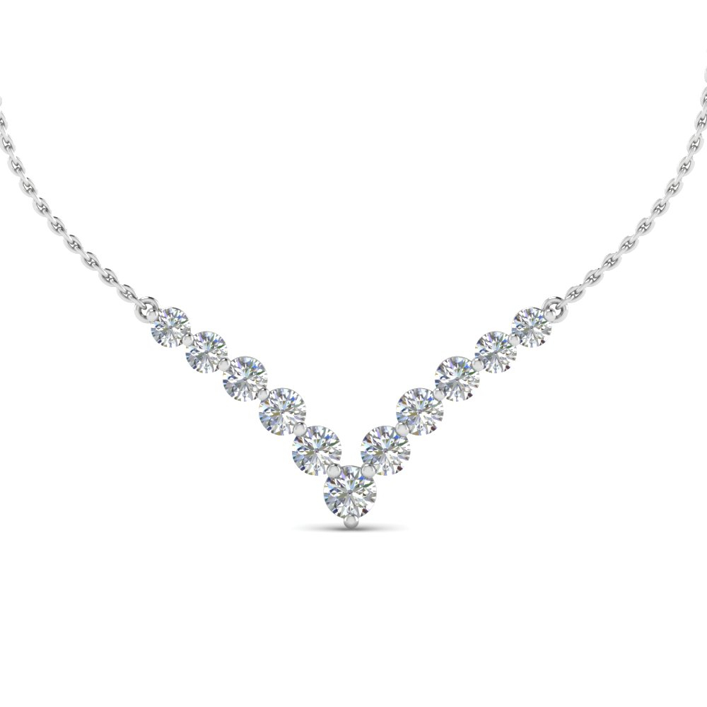 0.70 Ct. Round Diamond Graduated V Necklace Within Most Recently Released Diamond Necklaces In Platinum (Gallery 3 of 25)