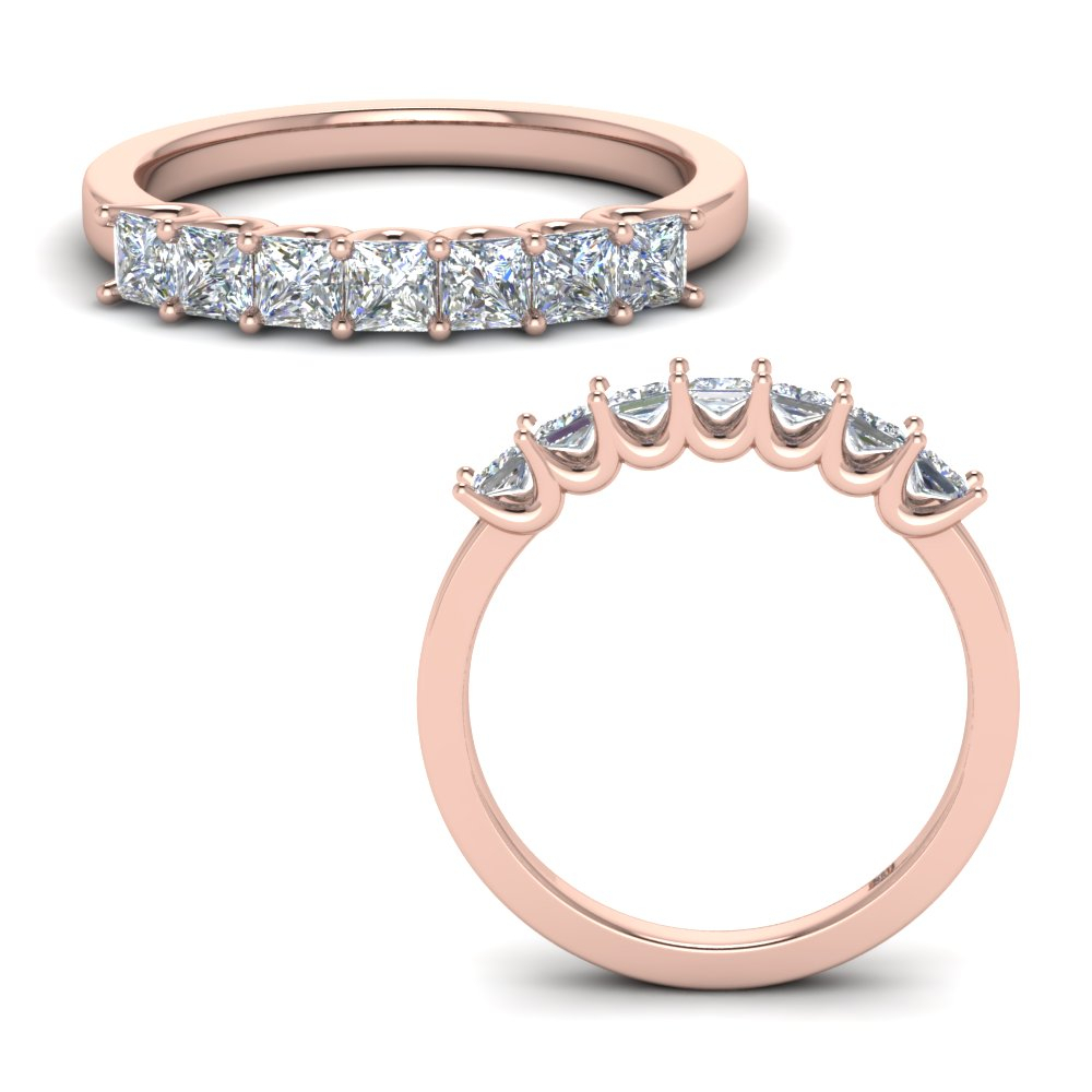 0.75 Carat Princess Cut Simple 7 Stone Anniversary Ring Within Most Up To Date Princess Cut Single Diamond Wedding Bands In Rose Gold (Gallery 5 of 25)