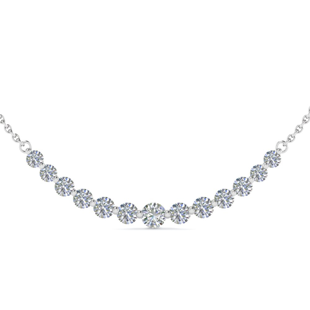 1.5 Carat Simple Curved Necklace For 2019 Diamond Necklaces In Platinum (Gallery 4 of 25)
