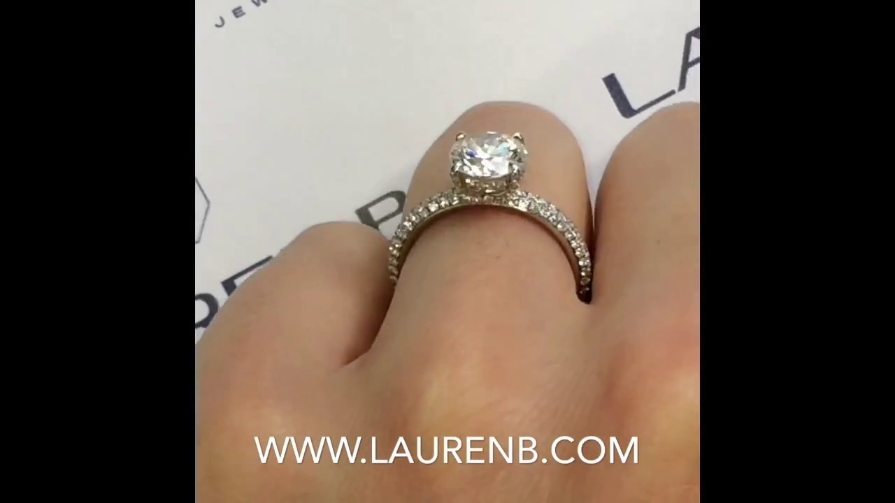 1.70 Ct Round Diamond 3 Row Pave Engagement Ring In Triple Row Micropavé Diamond Engagement Rings (Gallery 10 of 25)