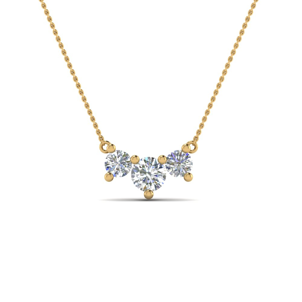 1 Carat 3 Stone Gold Diamond Necklace For Women Regarding Most Recent Diamond Necklaces In Yellow Gold (View 6 of 25)