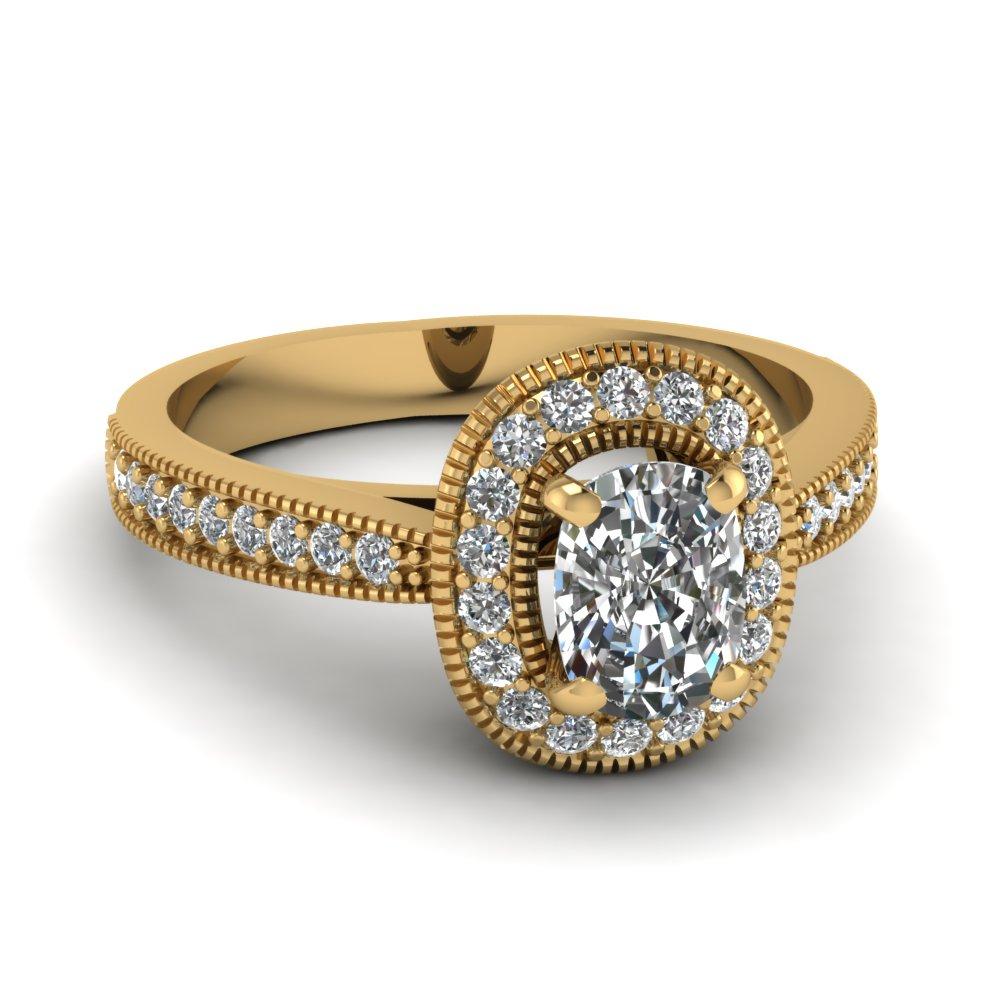 1 Carat Cushion Diamond Micropave Ring For Cushion Cut Yellow Diamond Micropavé Rings (View 5 of 25)