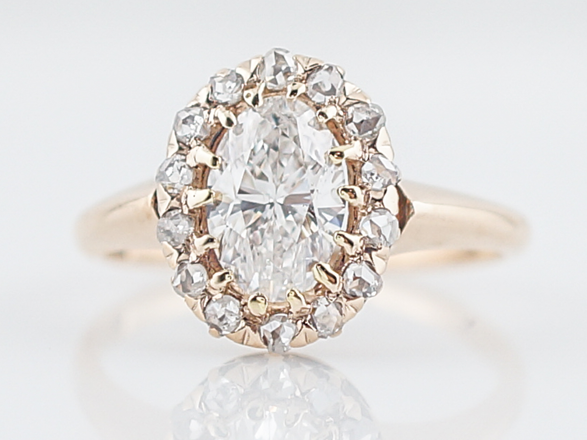 1 Carat Oval Cut Diamond Victorian Cluster Engagement Ring Intended For Oval Shaped Yellow Diamond Rings (View 1 of 25)