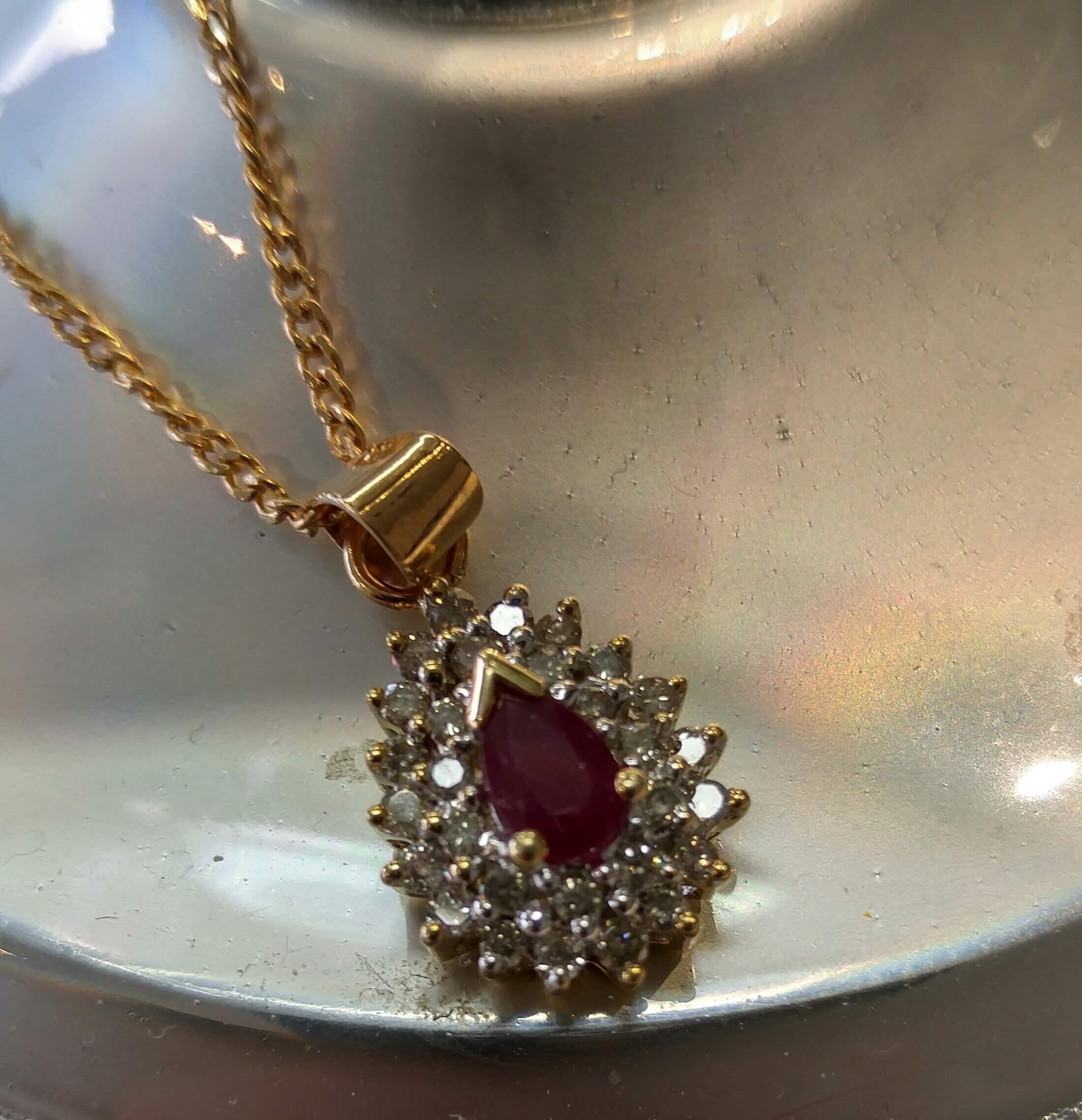 10k Ruby & Diamond Cluster Necklace Inside Newest Ruby And Diamond Cluster Necklaces (View 12 of 25)