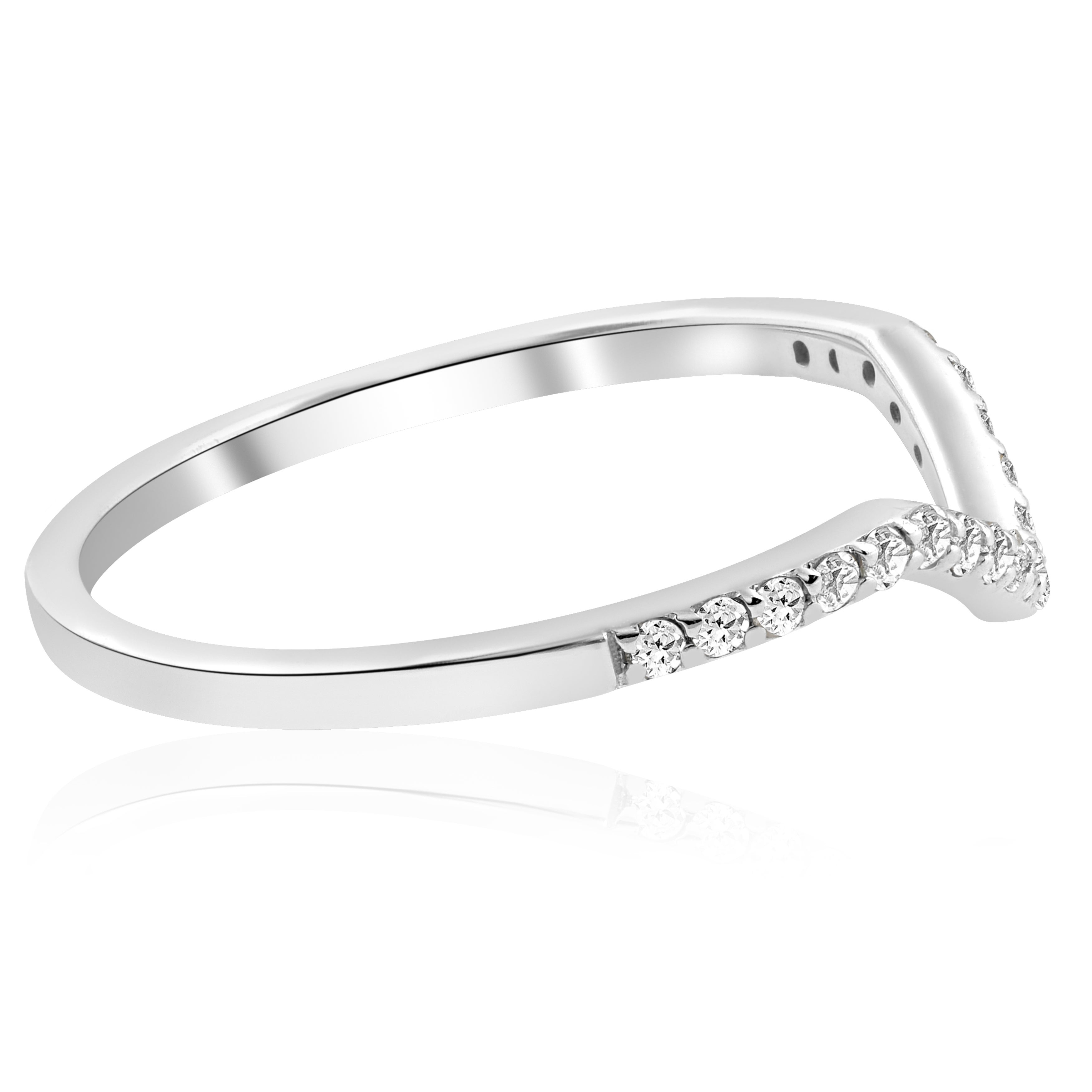 10k White Gold 1/5 Ct Tdw Diamond Curved V Shape Ring Stackable Wedding Band Womens Ring In Best And Newest V Shape Diamond Wedding Bands (View 18 of 25)