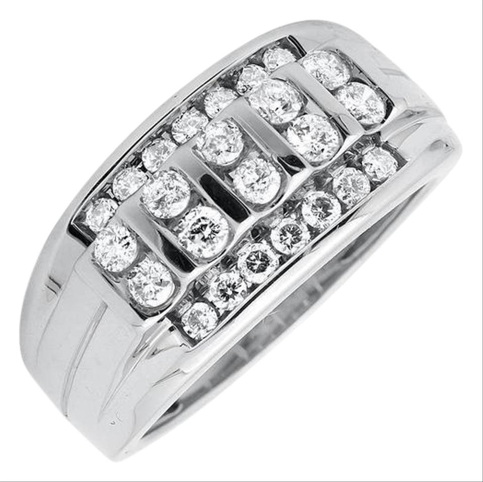 10K White Gold Vertical Row Channel Set Genuine Diamond Wedding Band  (View 3 of 25)
