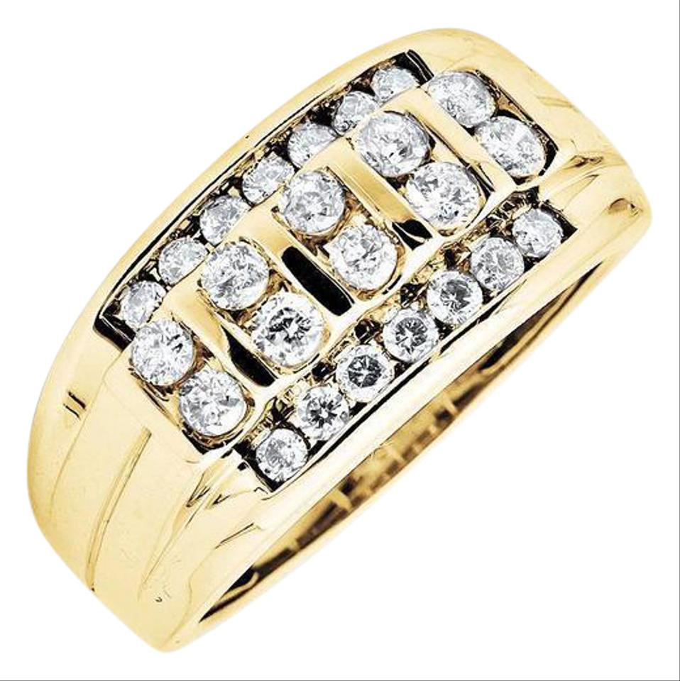 10K Yellow Gold Vertical Row Channel Set Genuine Diamond Wedding Band  (View 4 of 25)