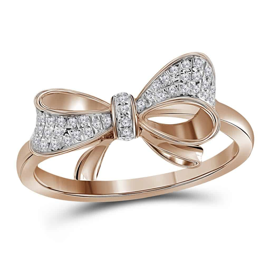 10Kt Rose Gold Womens Round Diamond Cluster Ribbon Knot Bow Ring 1/12 Cttw Intended For Best And Newest Ribbon Diamond Wedding Bands (View 1 of 25)