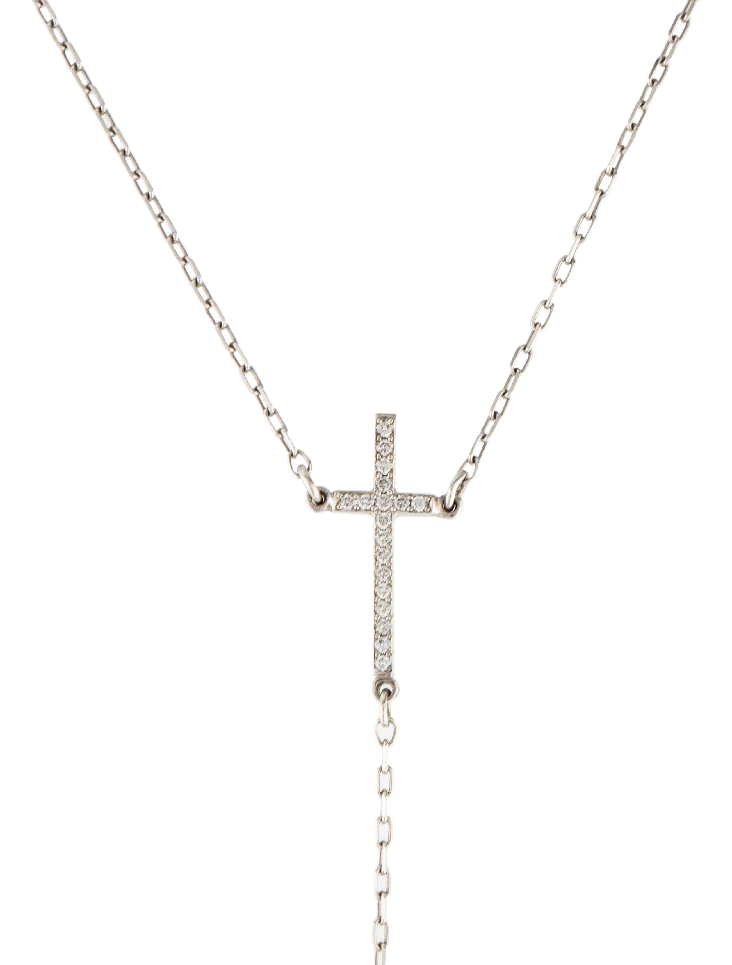 14K Diamond Cross Lariat Necklace | Casual Dresses For Throughout Most Current Round Brilliant Diamond Lariat Necklaces (View 6 of 25)