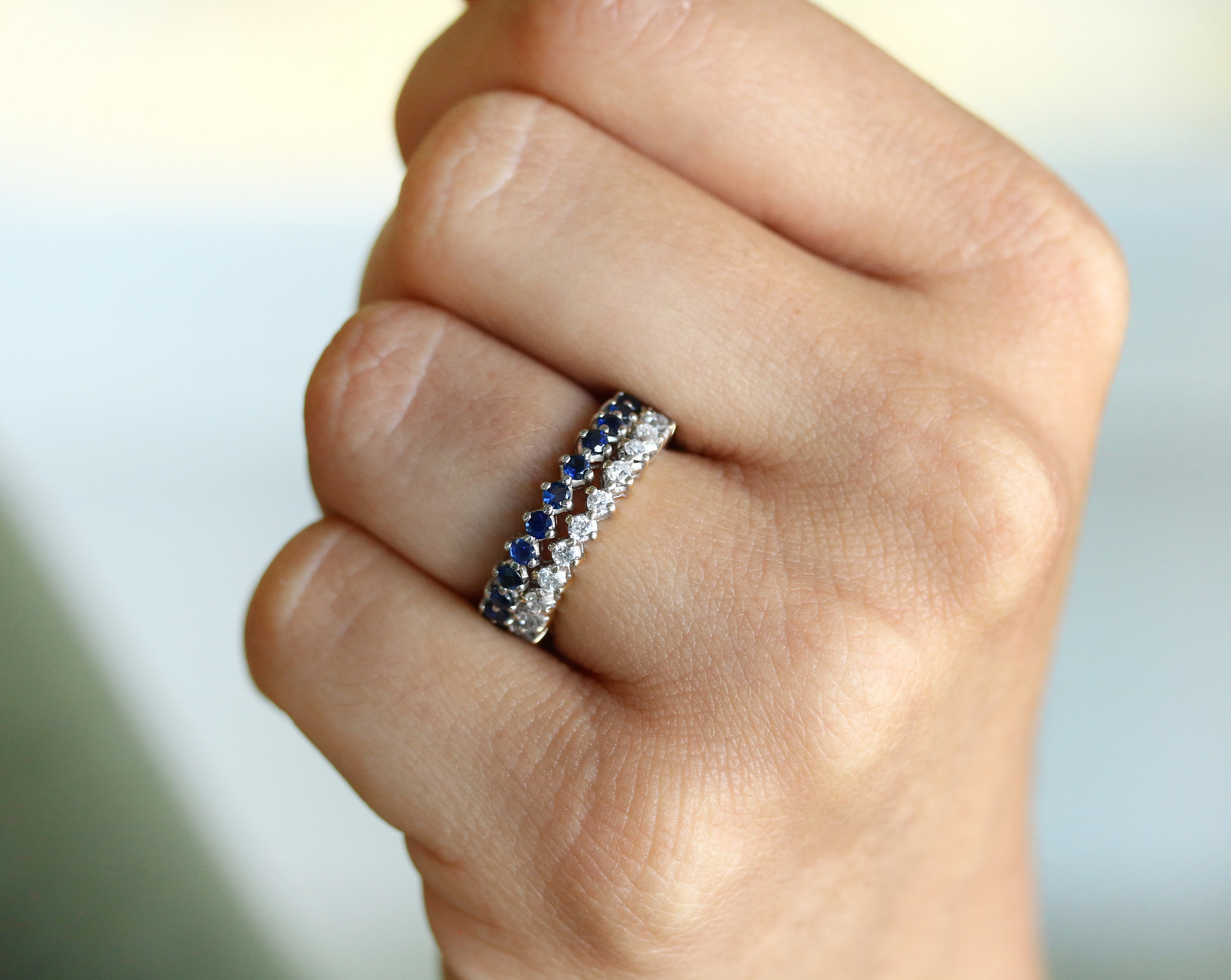 14k Eternity Band With Natural Sapphire, (View 18 of 25)