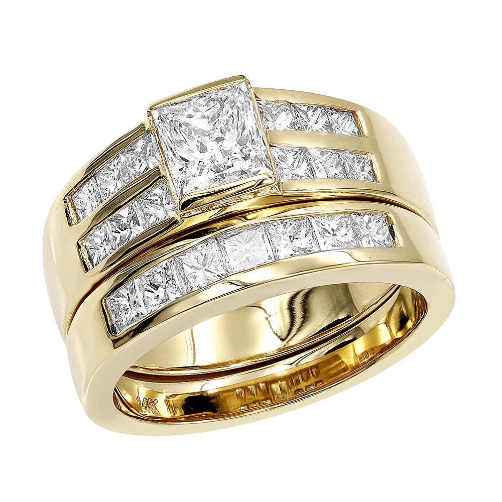 14K Gold 2 Carat Princess Cut Diamond Engagement Ring & Wedding Band Set Within Most Current Princess Cut Single Diamond Wedding Bands In Yellow Gold (View 7 of 25)