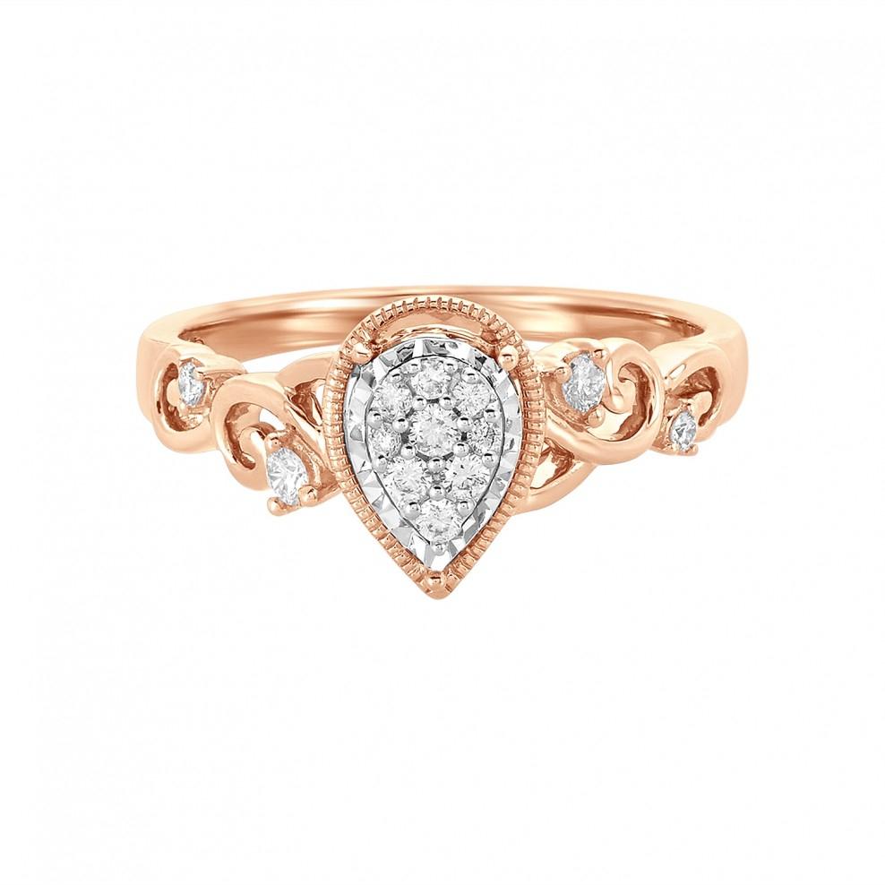 14K Rose Gold Pear Shaped Cluster Engagement Ring Regarding Pear Shaped Engagement Rings (View 3 of 25)