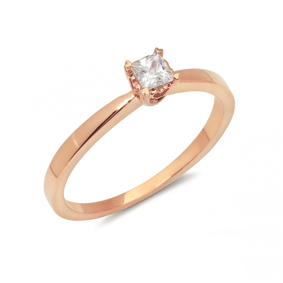 14K Rose Gold Princess Cut Solitaire Engagement Ring For 2017 Princess Cut Single Diamond Wedding Bands In Rose Gold (View 3 of 25)