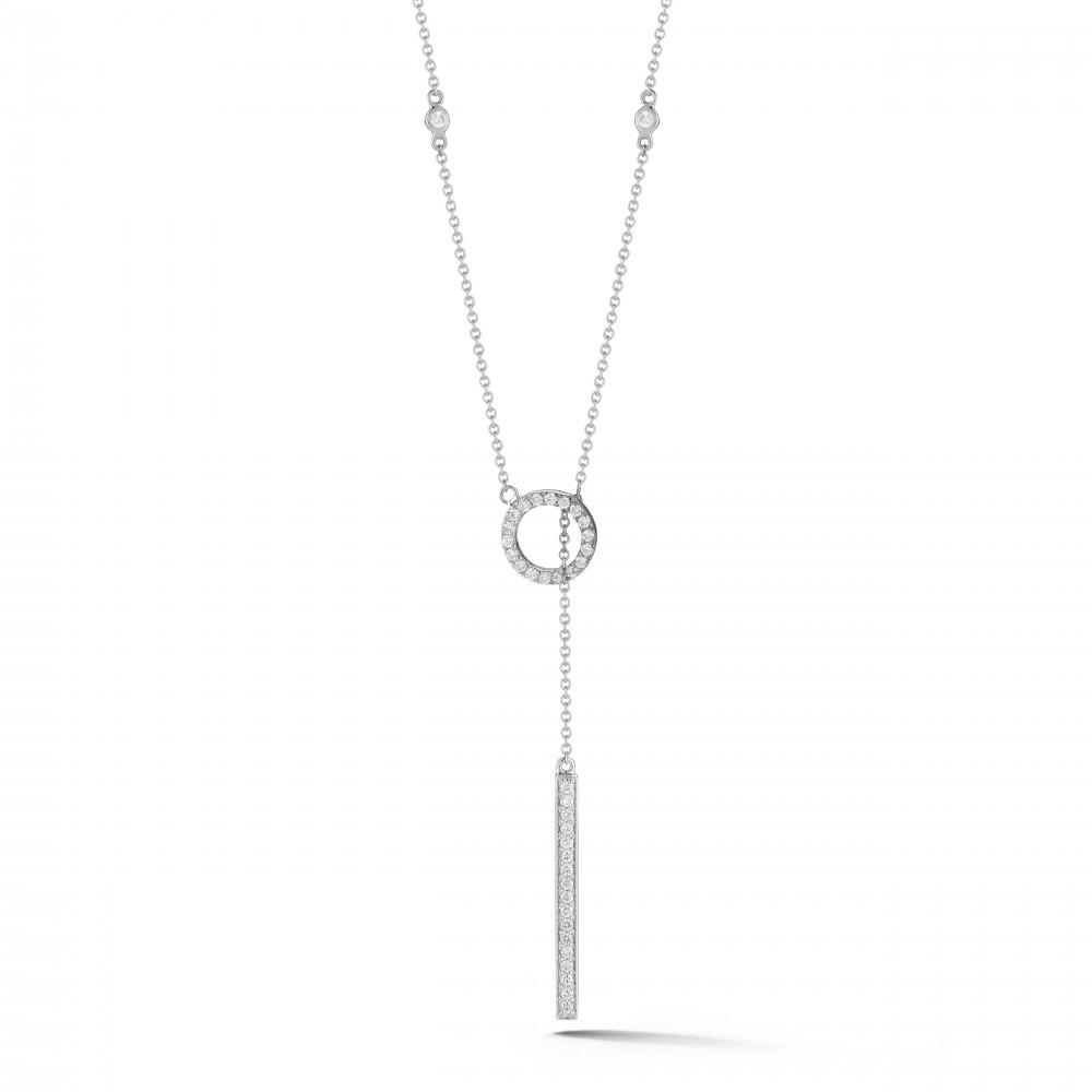 14k White Gold Diamond Circle And Bar Lariat Necklace 24 Intended For Recent Lariat Diamond Necklaces (View 15 of 25)
