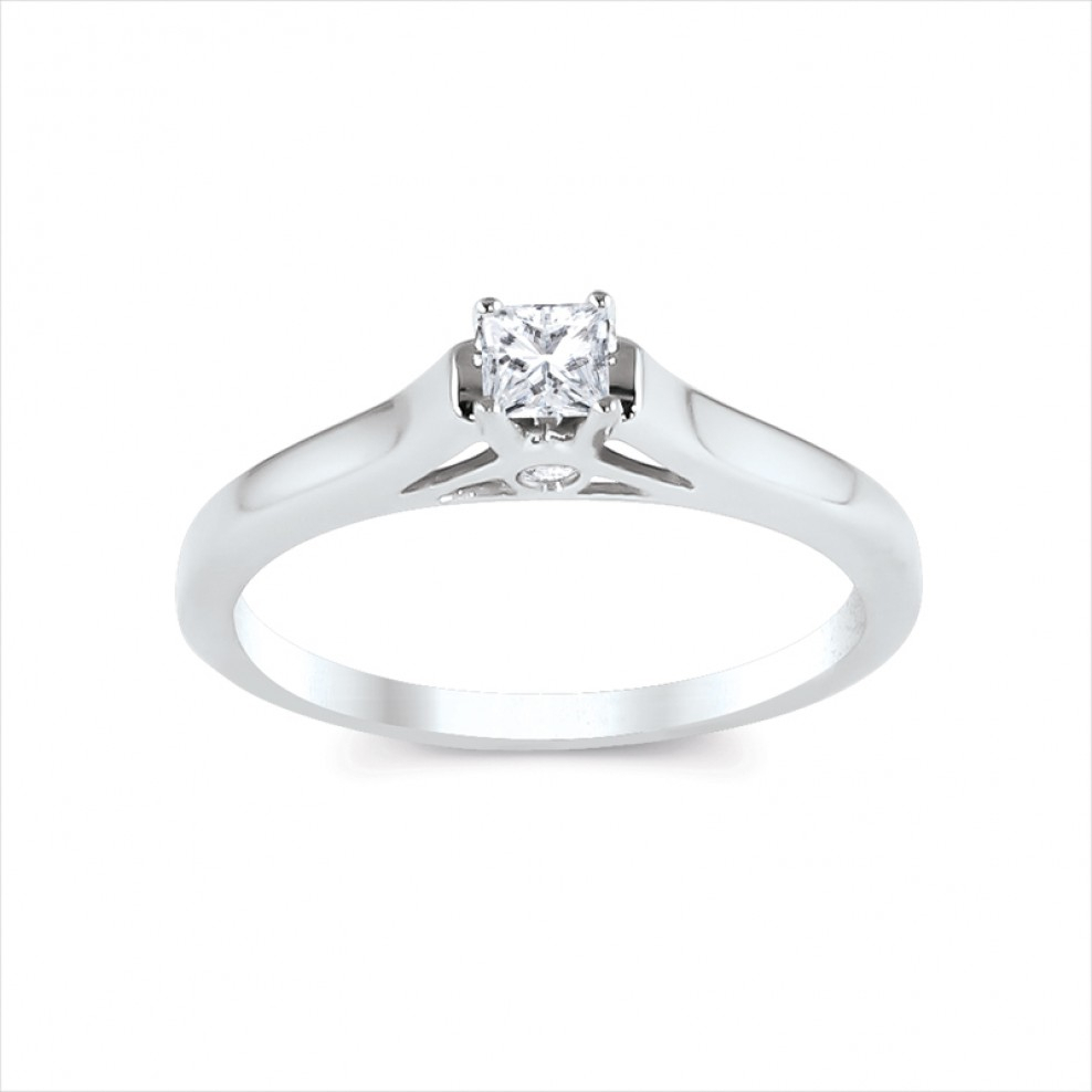 14K White Gold Princess Cut Center Engagement Ring Throughout Most Recently Released Princess Cut Single Diamond Wedding Bands In Yellow Gold (View 8 of 25)