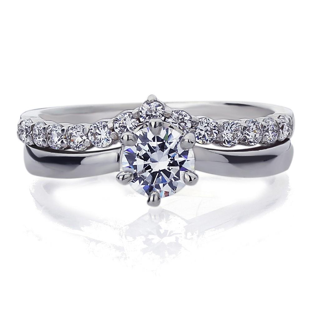 14K White Gold Wedding Ring Round Cut Cz V Shape 2 Pcs Bridal Set (Size 5  To 9) With Regard To 2017 V Shape Diamond Wedding Bands (View 3 of 25)